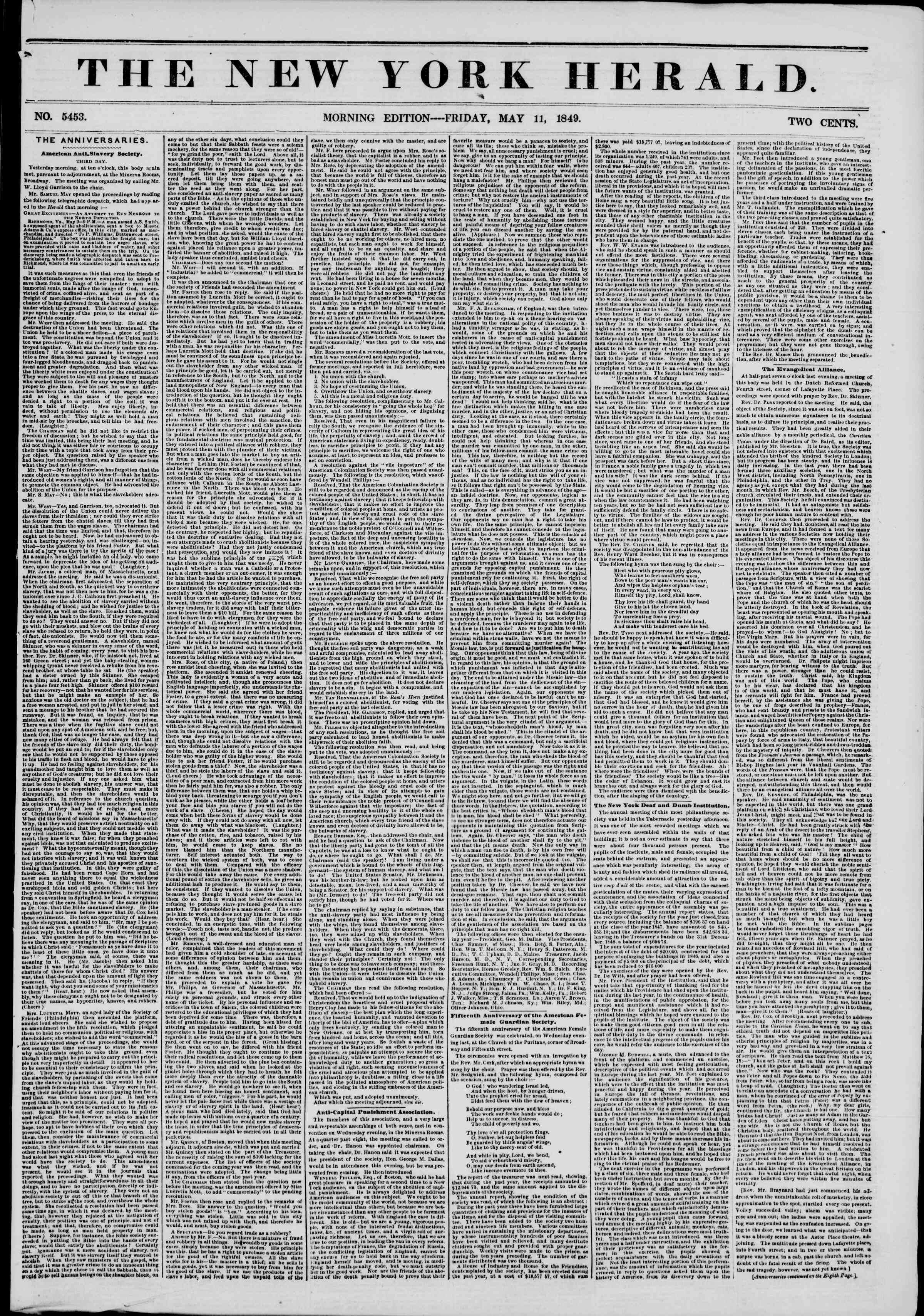 Newspaper of The New York Herald dated May 11, 1849 Page 1