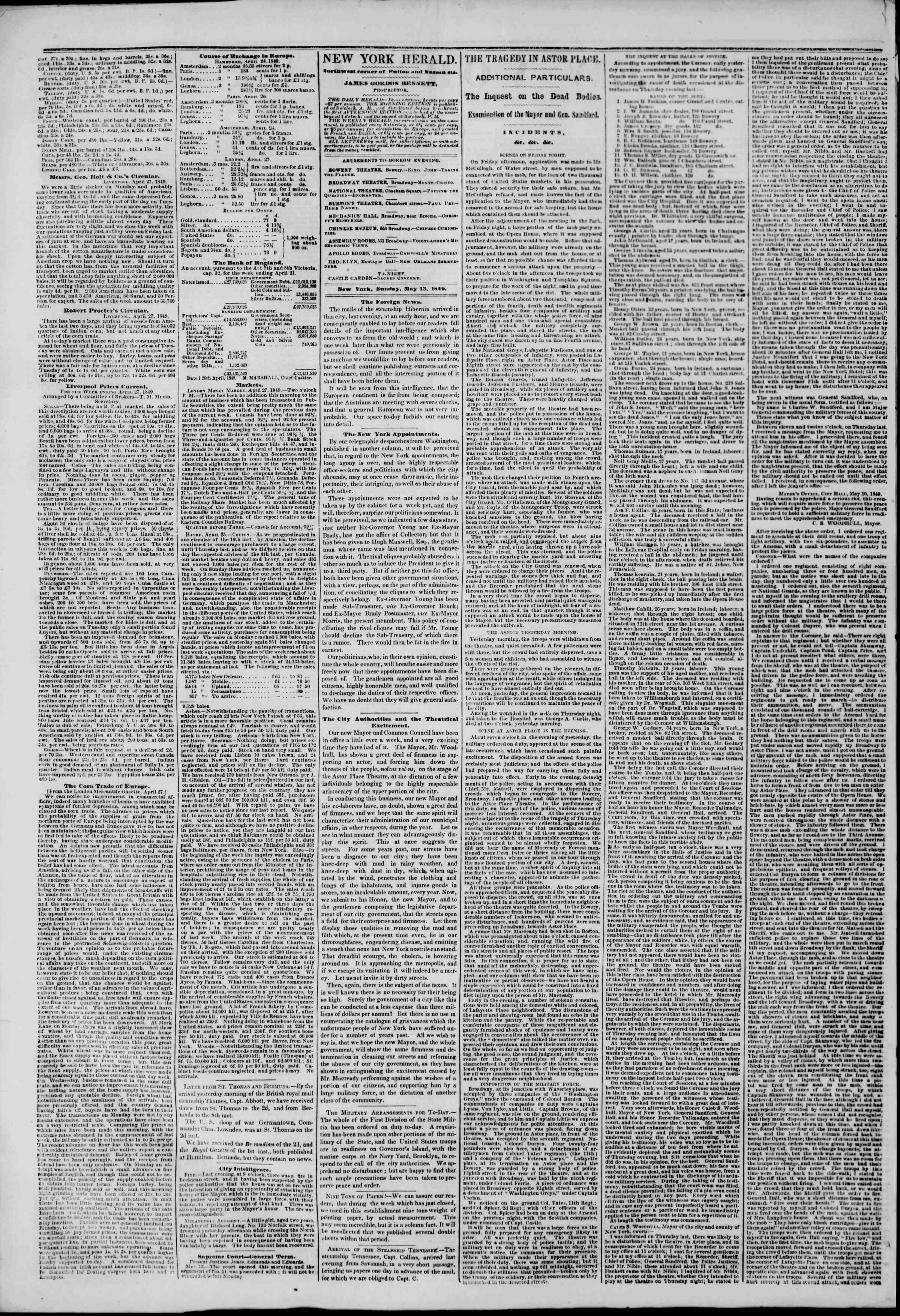 Newspaper of The New York Herald dated May 13, 1849 Page 2