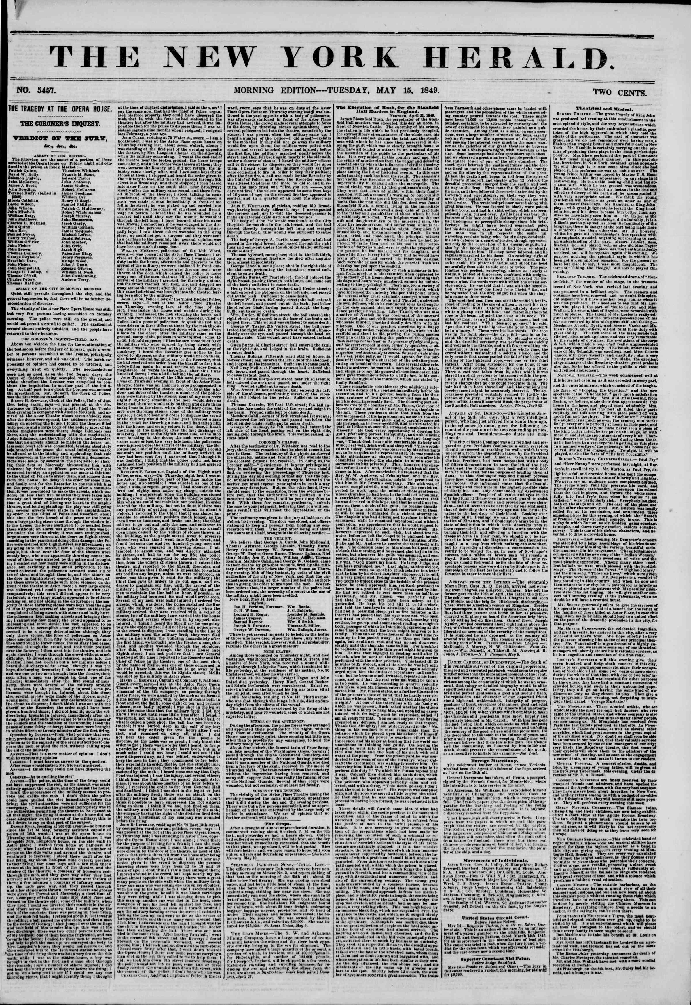 Newspaper of The New York Herald dated May 15, 1849 Page 1
