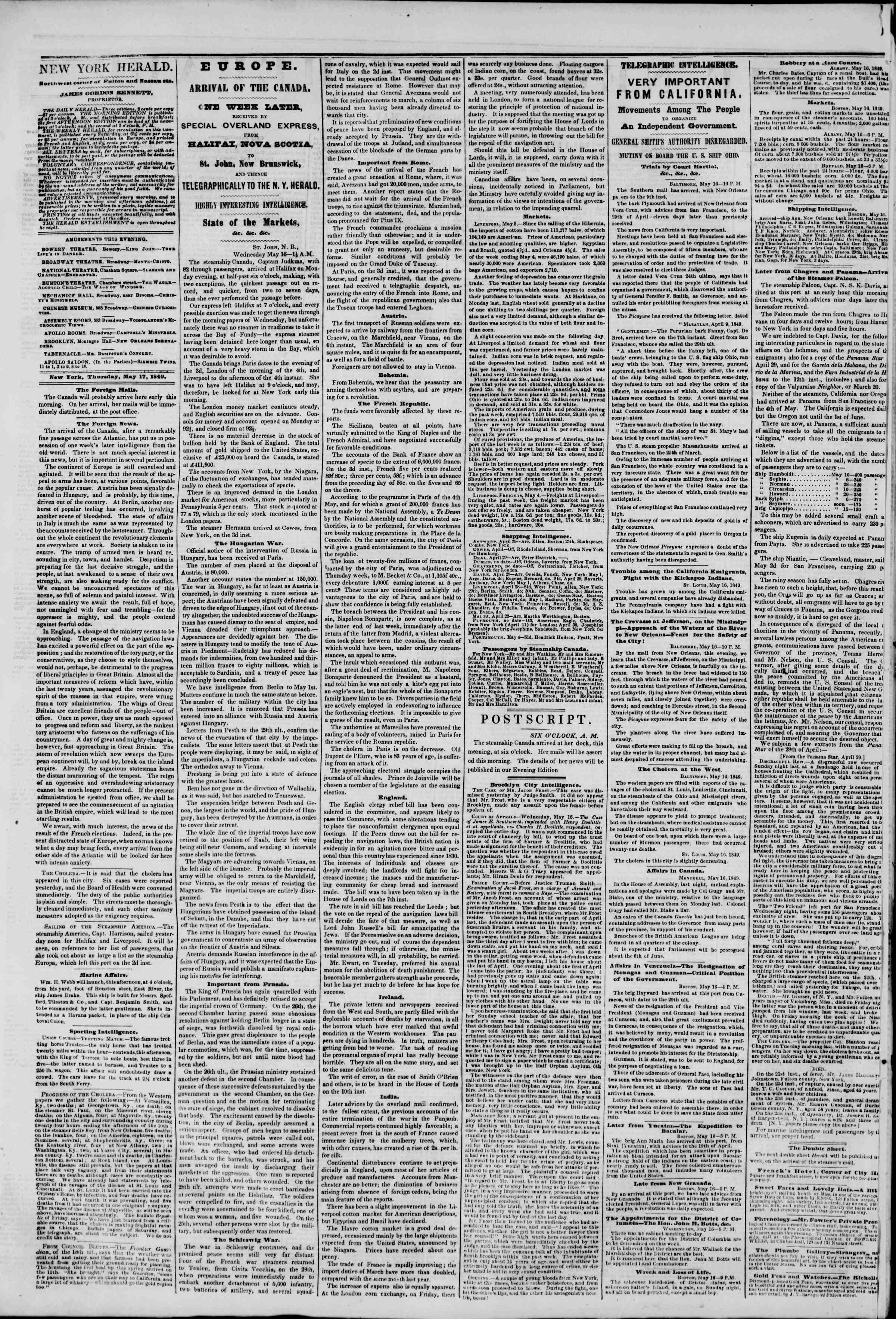 Newspaper of The New York Herald dated May 17, 1849 Page 2