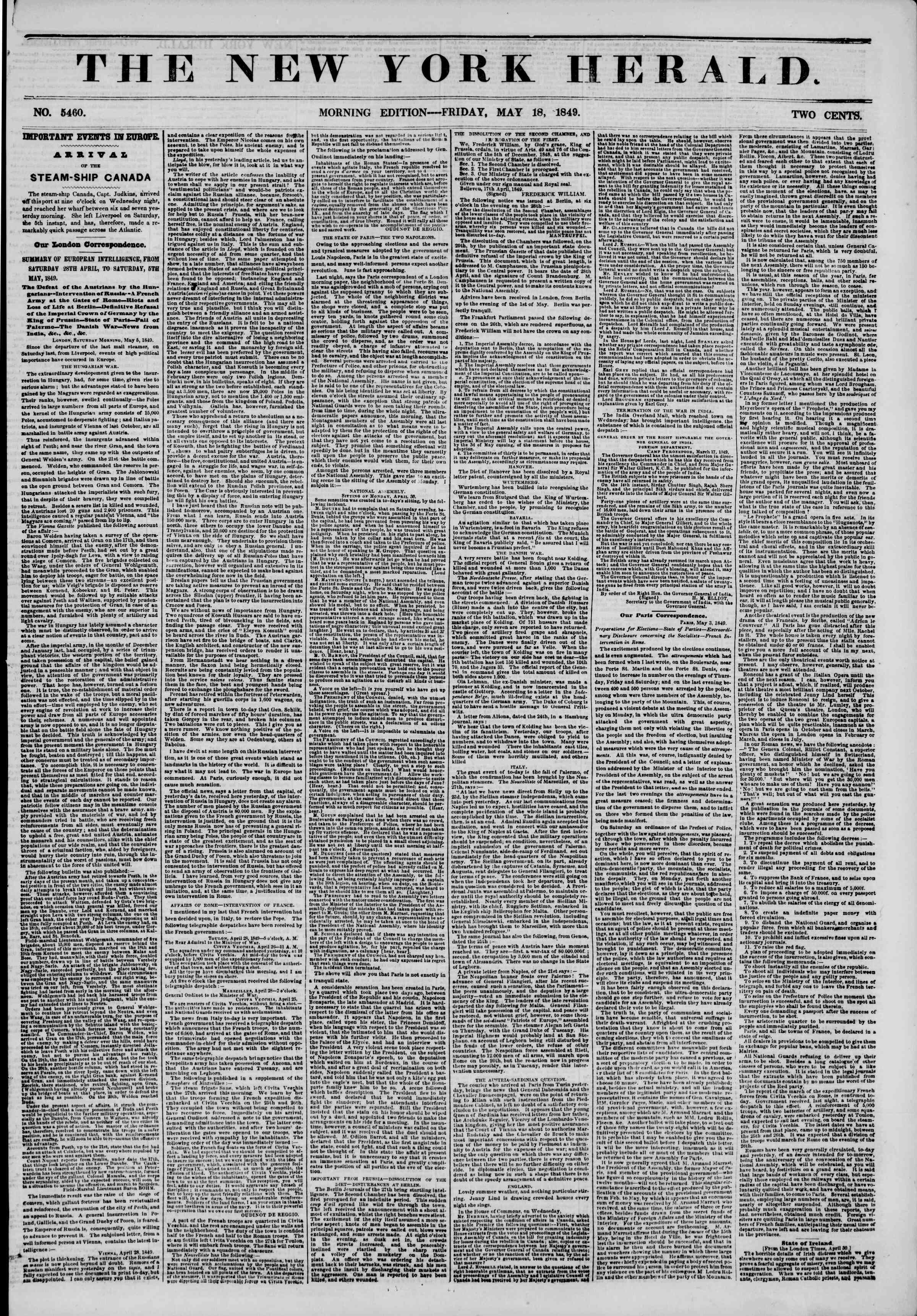 Newspaper of The New York Herald dated May 18, 1849 Page 1