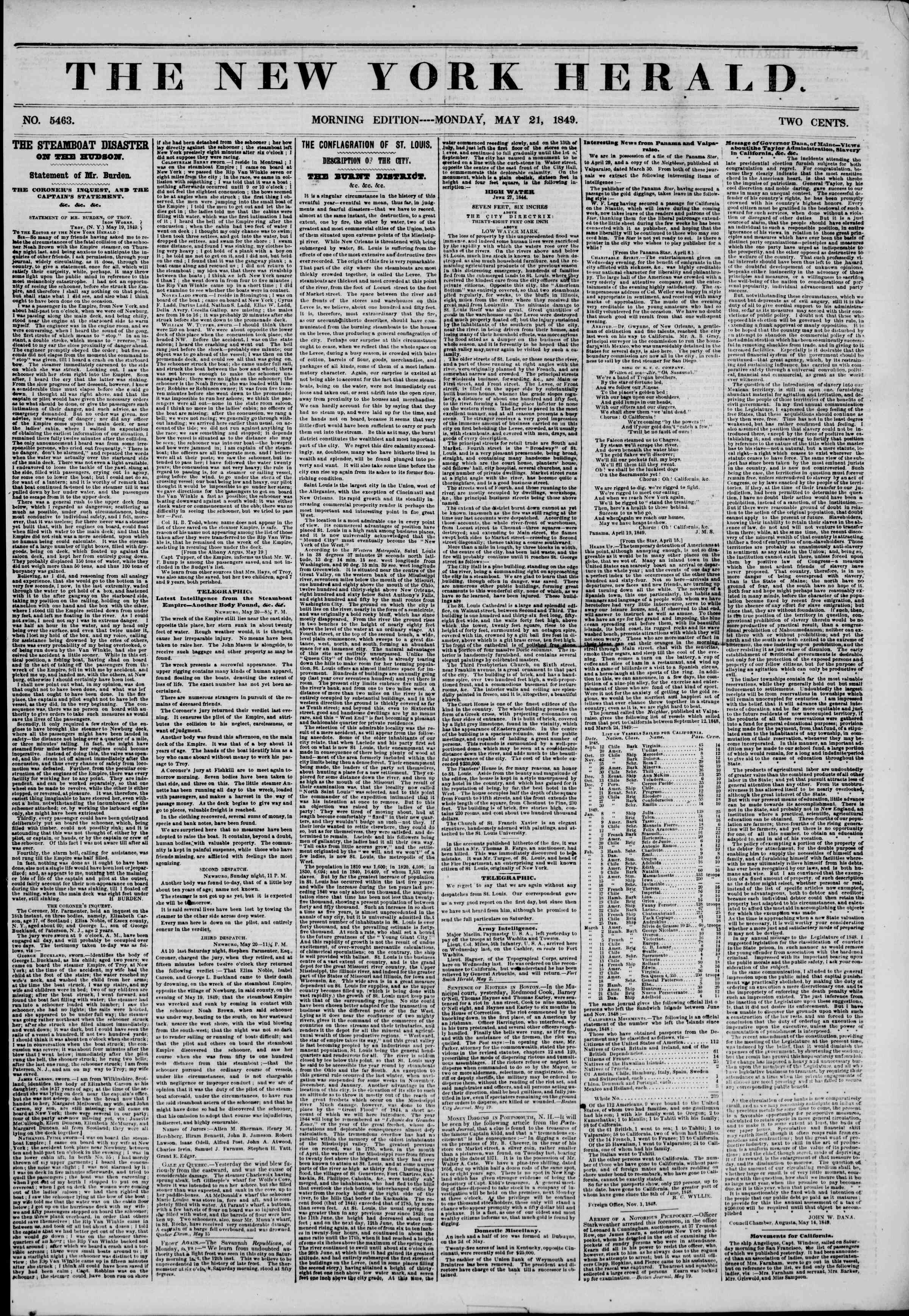 Newspaper of The New York Herald dated May 21, 1849 Page 1