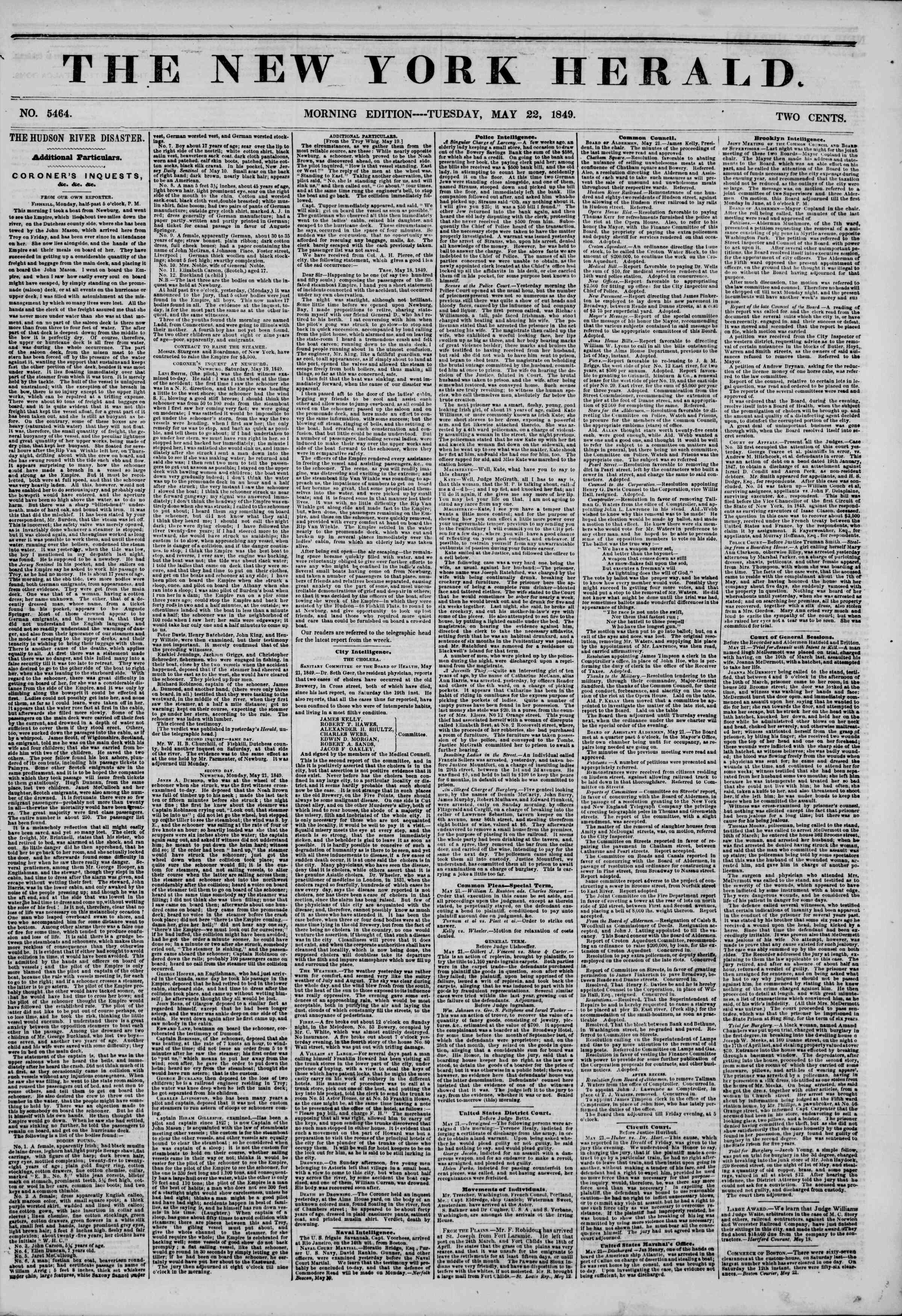 Newspaper of The New York Herald dated May 22, 1849 Page 1