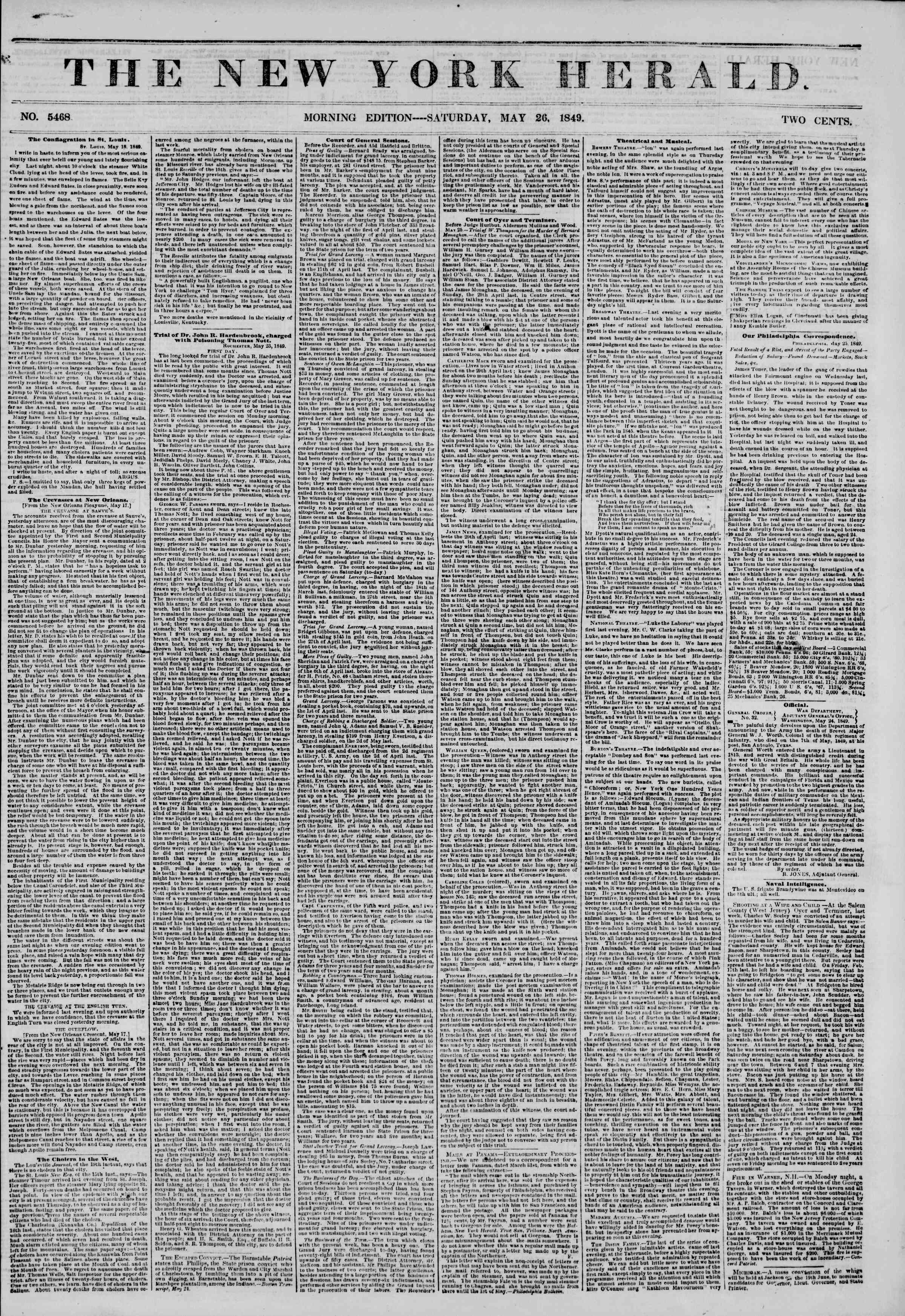 Newspaper of The New York Herald dated May 26, 1849 Page 1