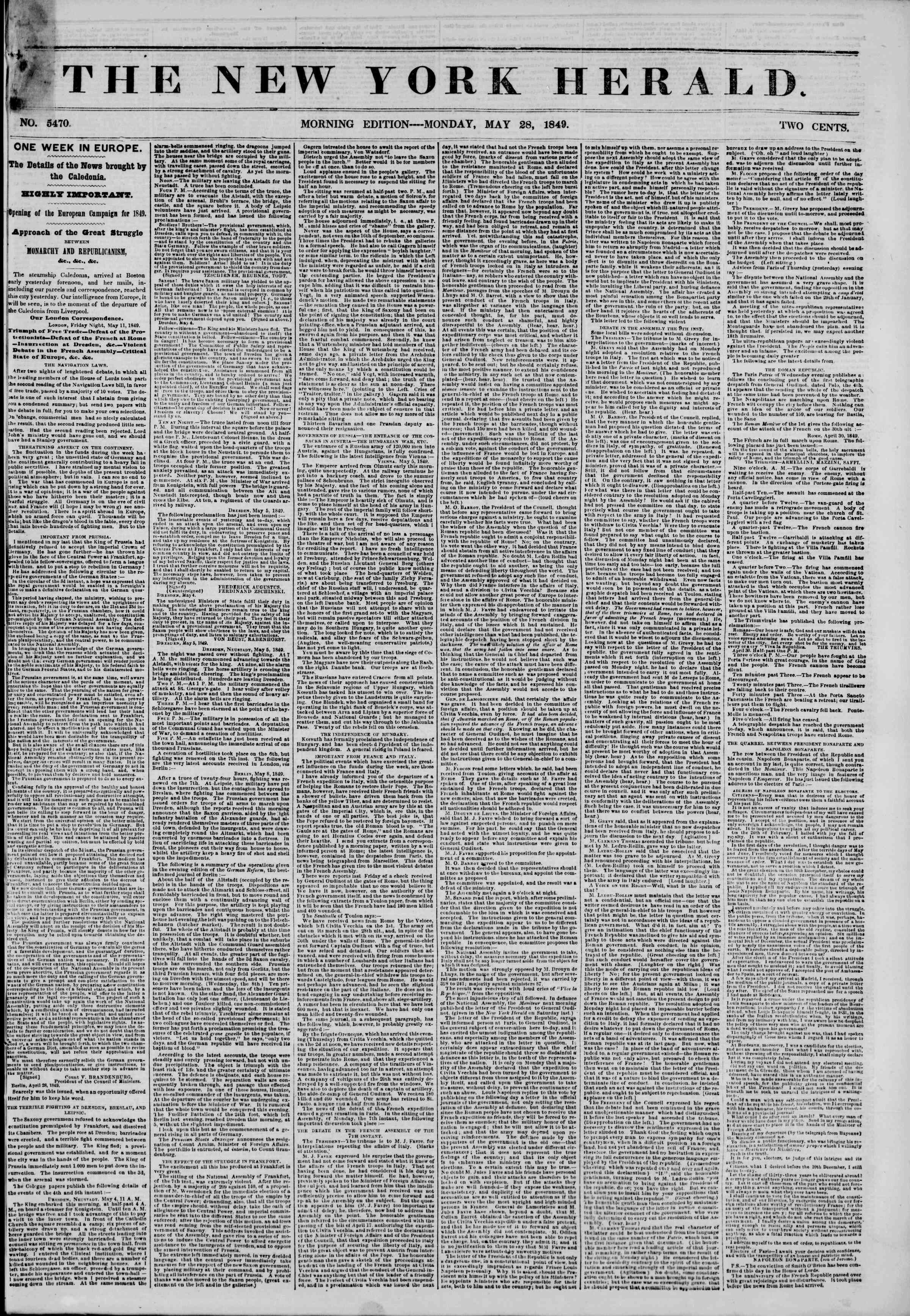 Newspaper of The New York Herald dated May 28, 1849 Page 1