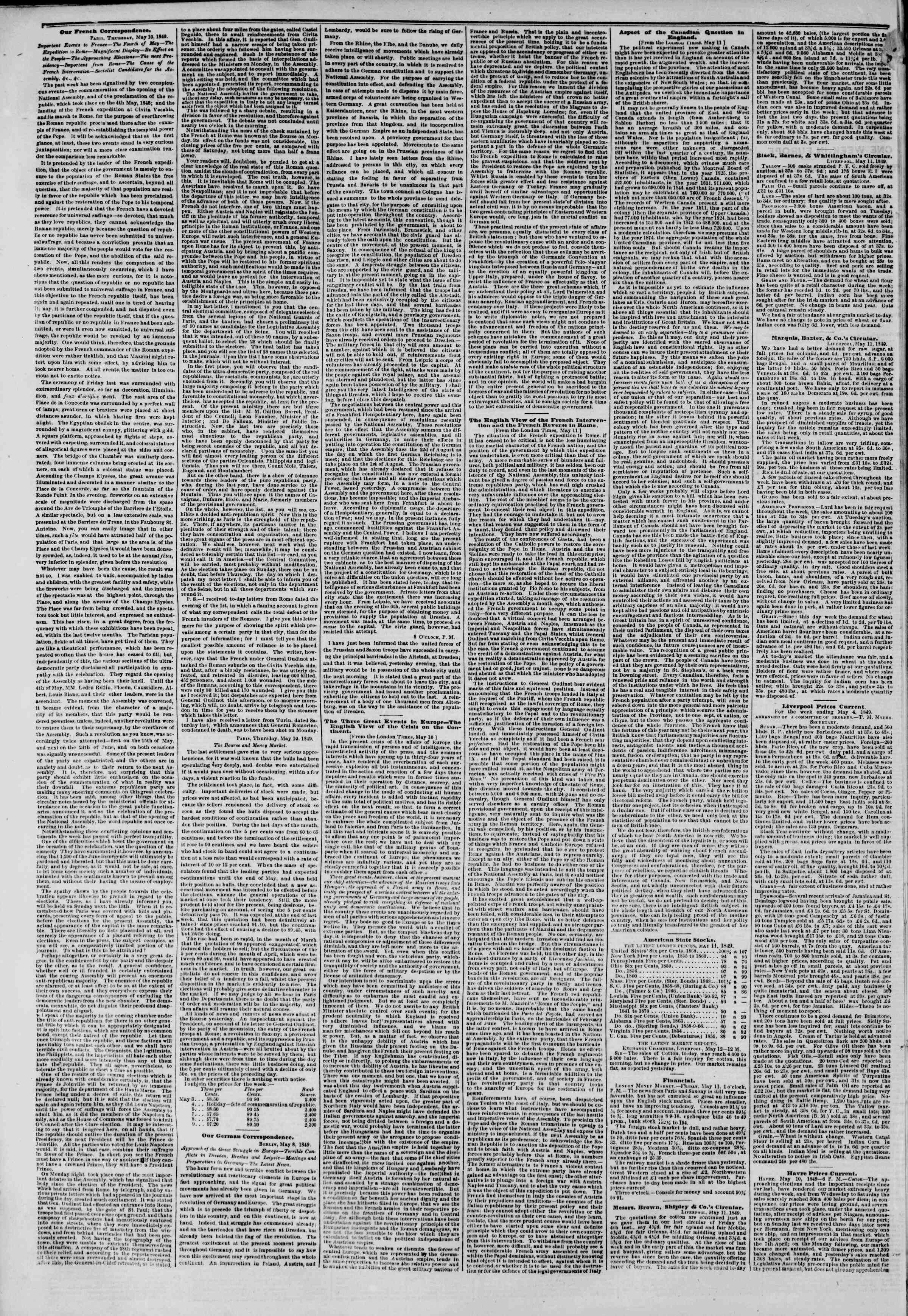 Newspaper of The New York Herald dated May 28, 1849 Page 2
