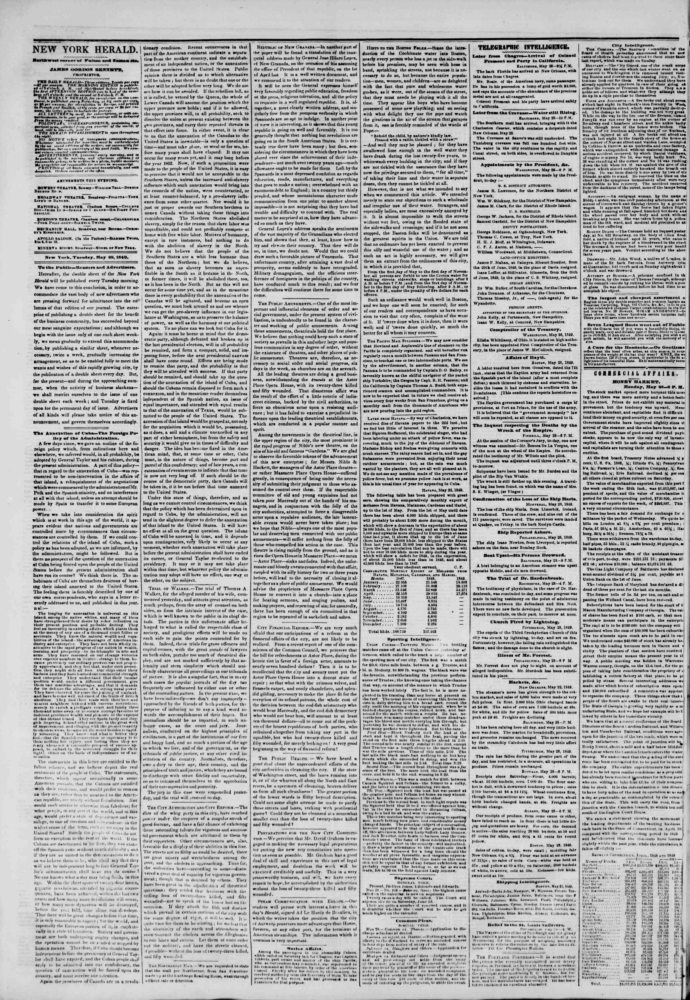 Newspaper of The New York Herald dated May 29, 1849 Page 2