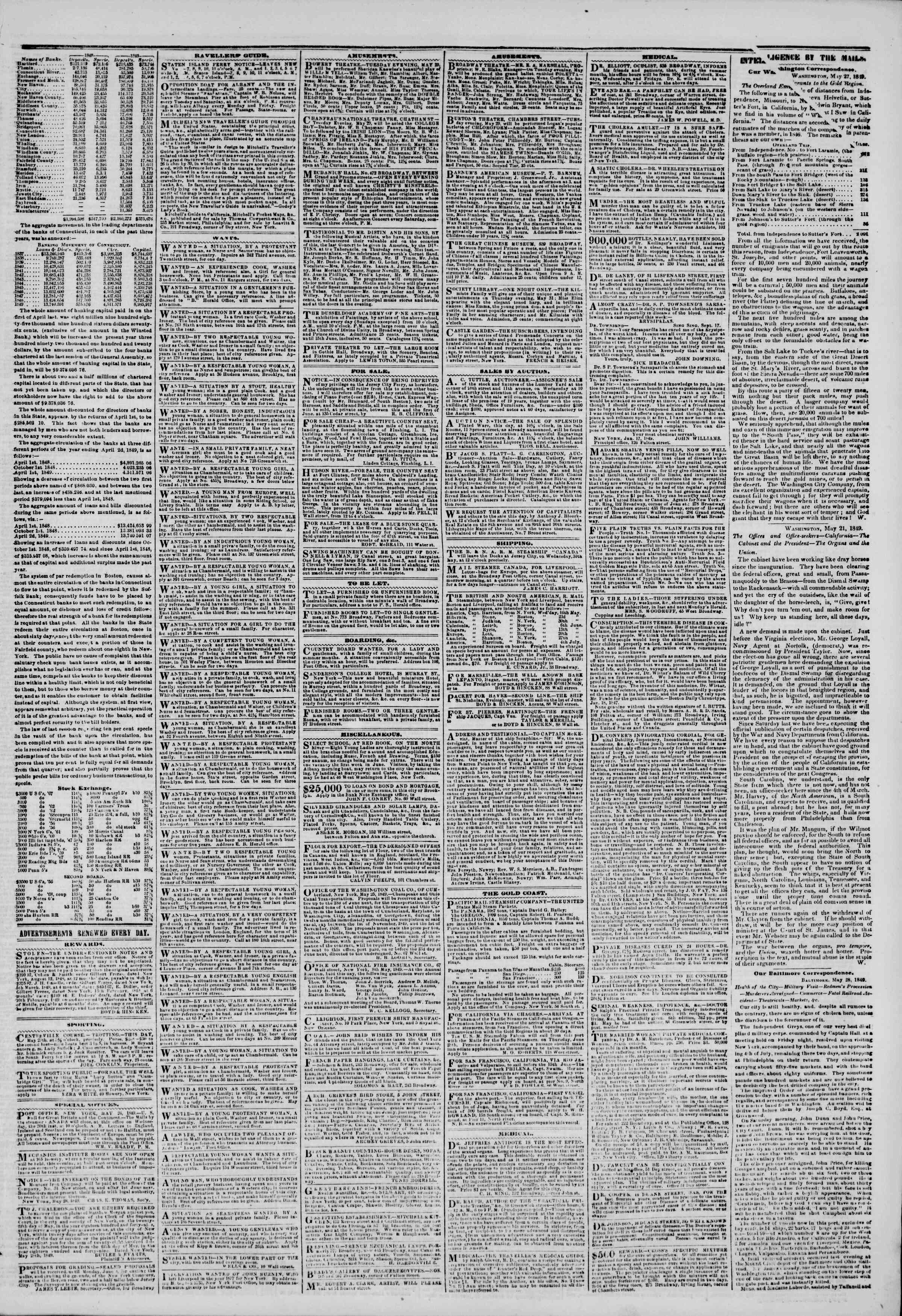 Newspaper of The New York Herald dated May 29, 1849 Page 3