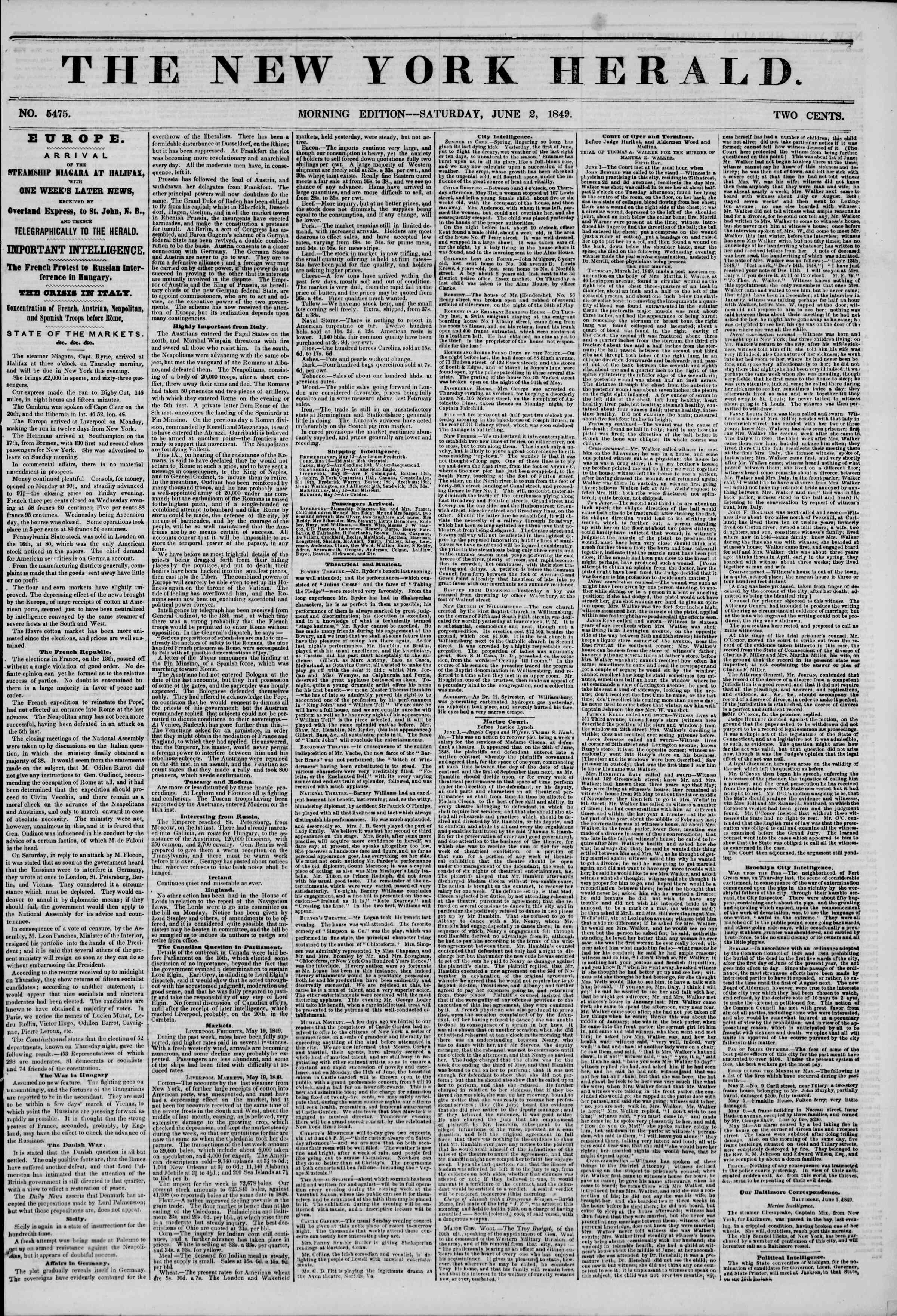 Newspaper of The New York Herald dated June 2, 1849 Page 1