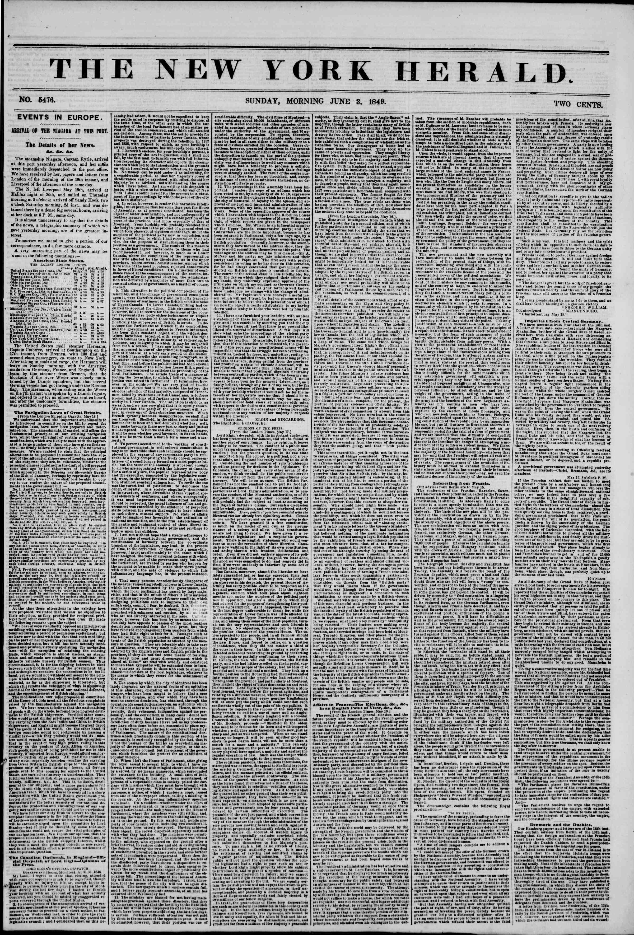 Newspaper of The New York Herald dated June 3, 1849 Page 1