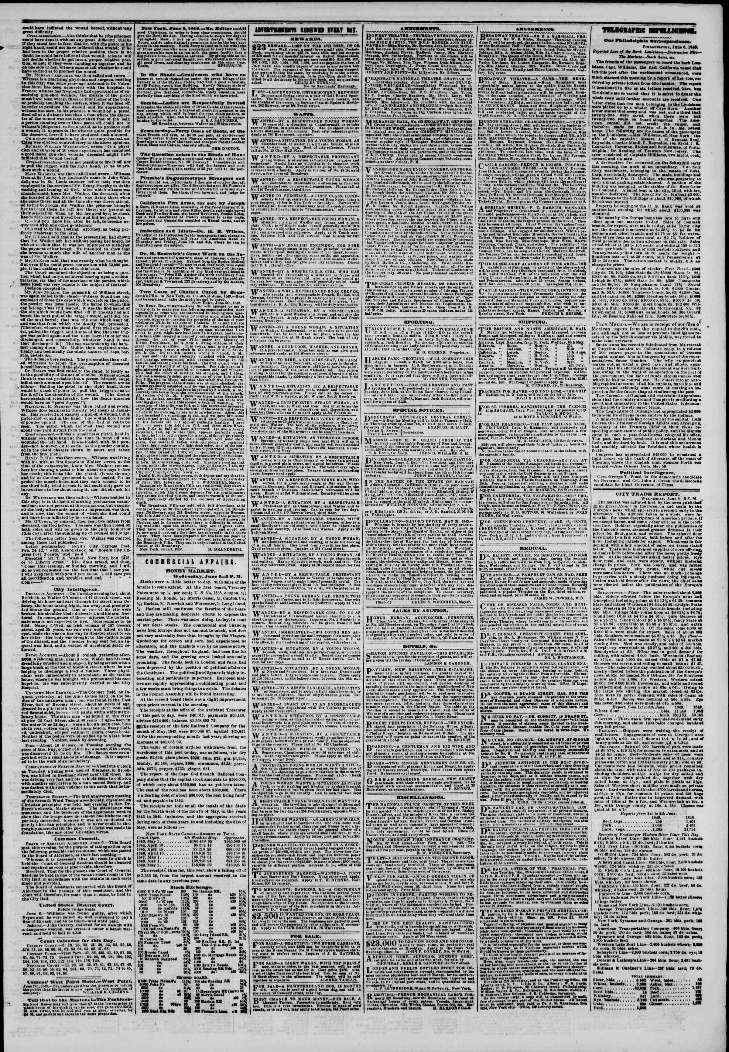 Newspaper of The New York Herald dated June 7, 1849 Page 3