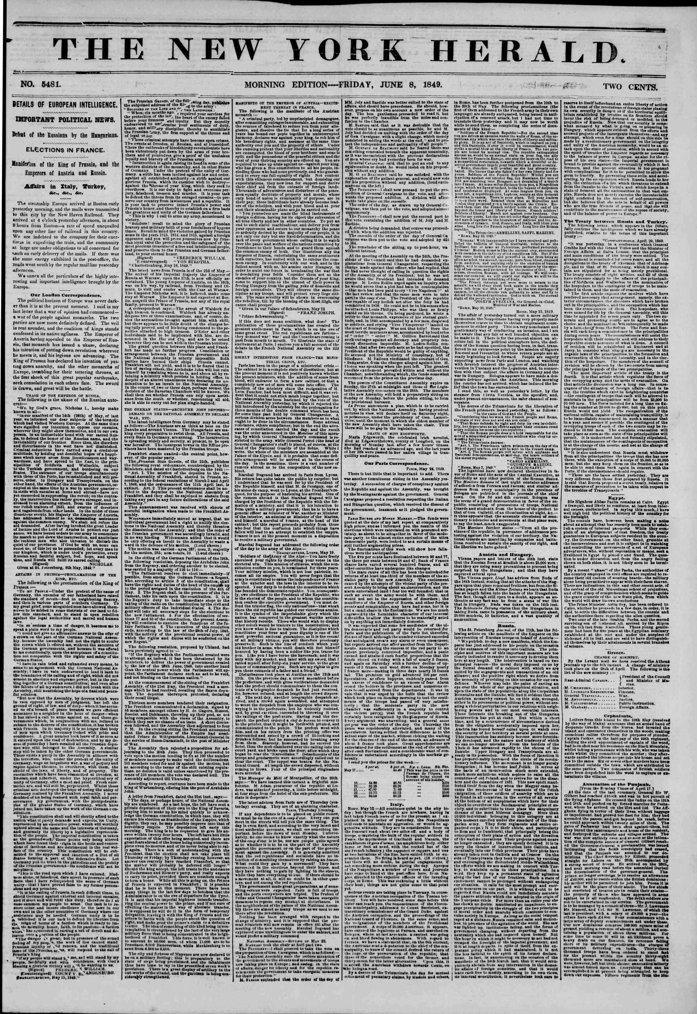 Newspaper of The New York Herald dated June 8, 1849 Page 1
