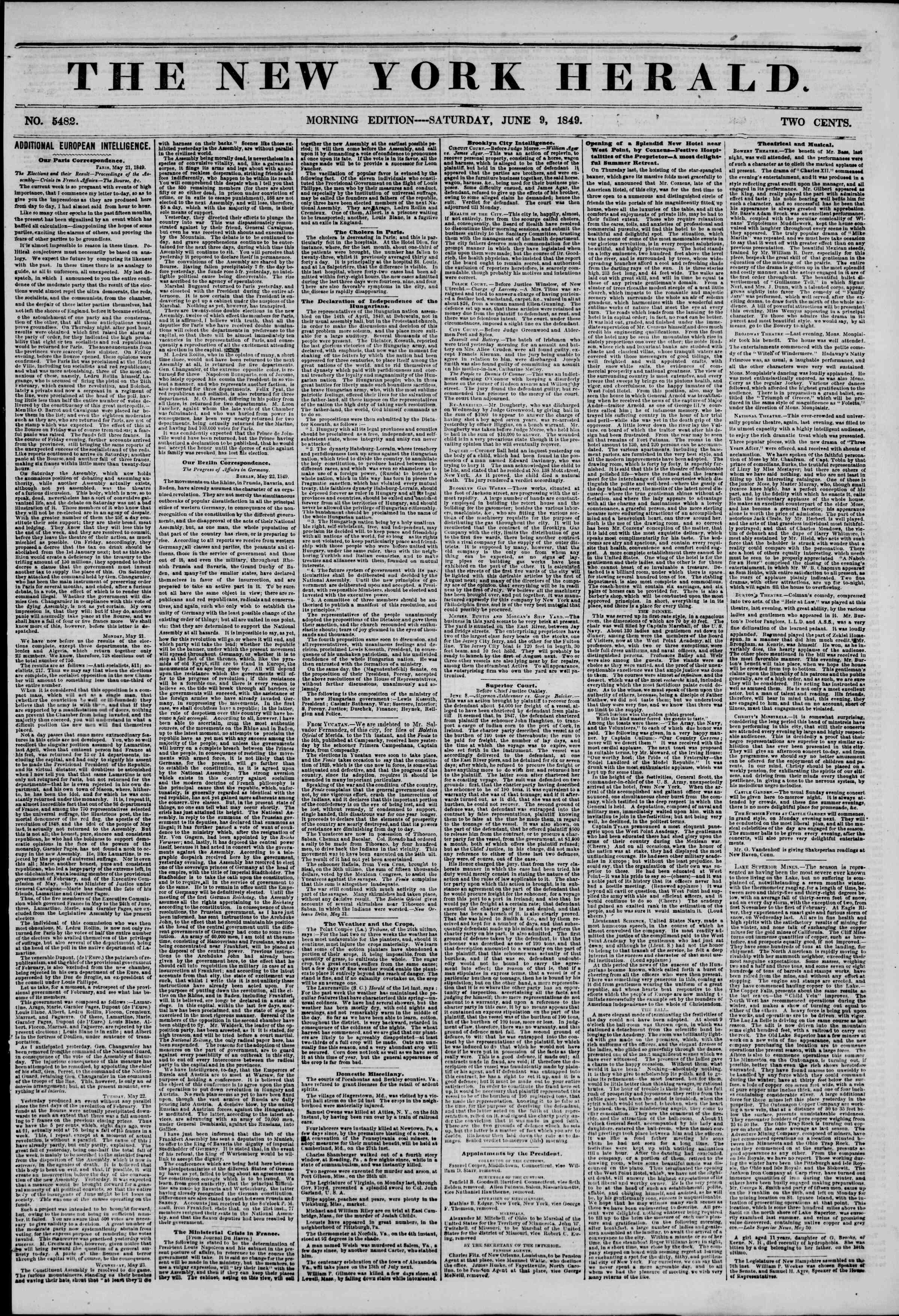 Newspaper of The New York Herald dated 9 Haziran 1849 Page 1