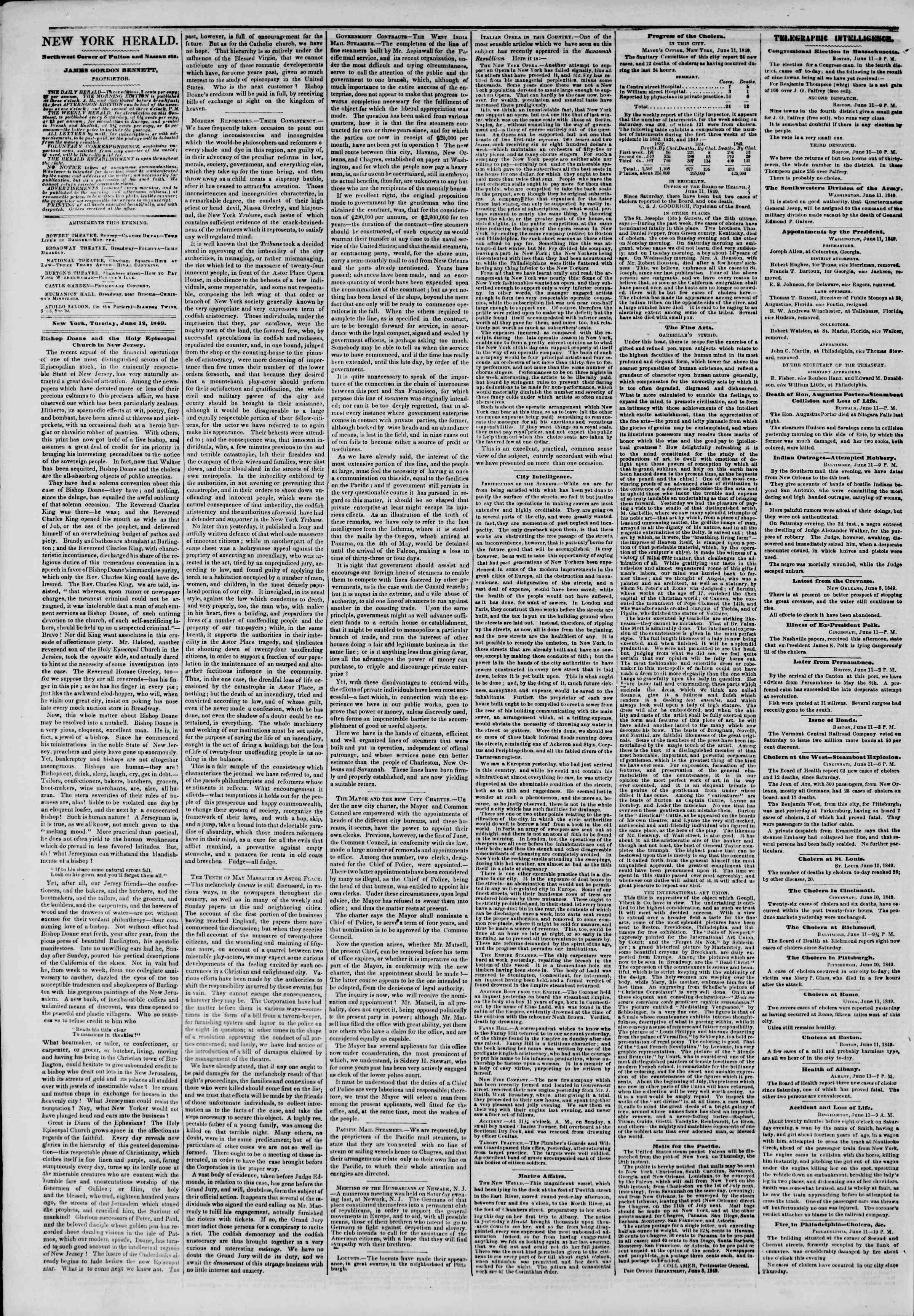 Newspaper of The New York Herald dated June 12, 1849 Page 4