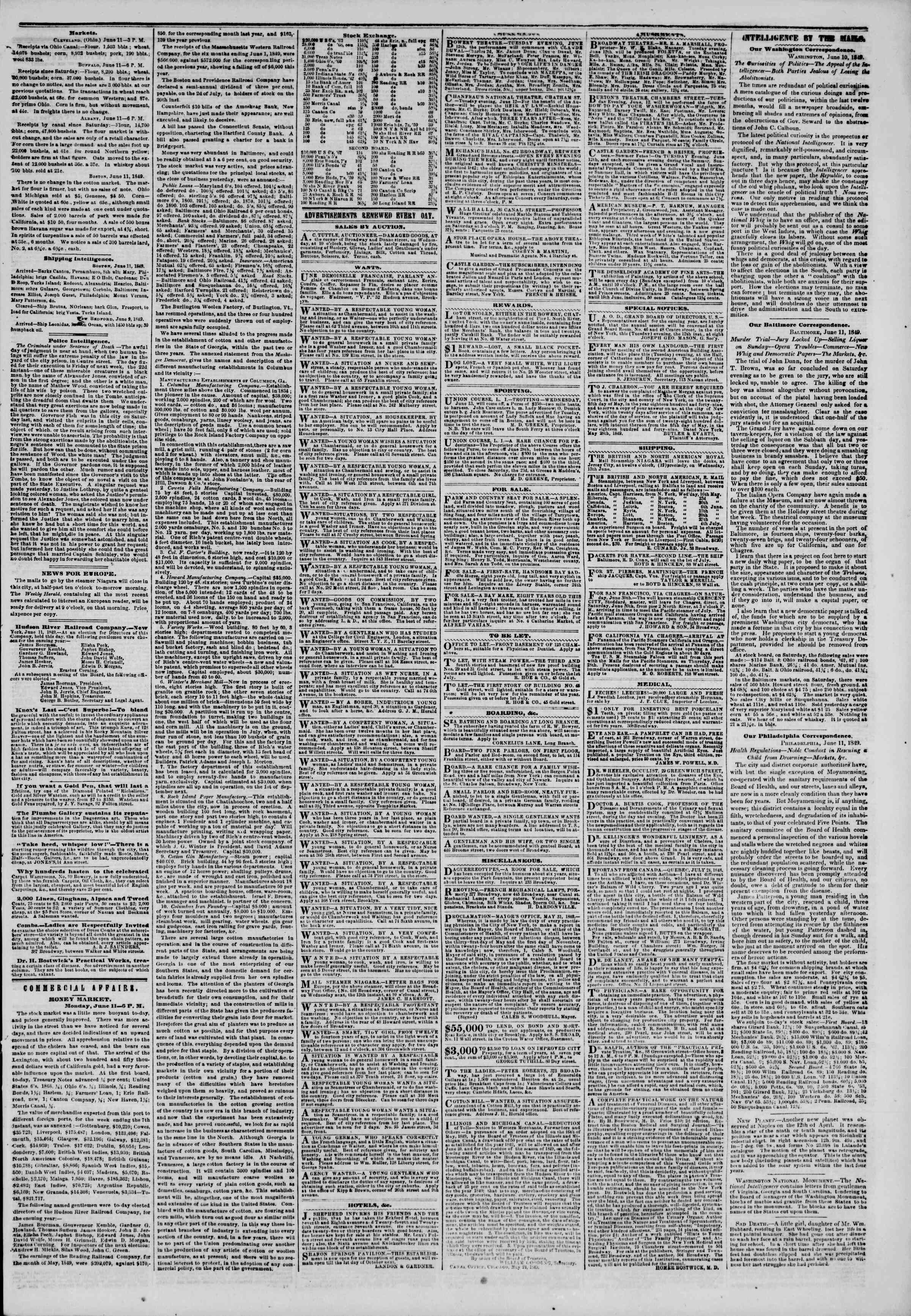 Newspaper of The New York Herald dated June 12, 1849 Page 5