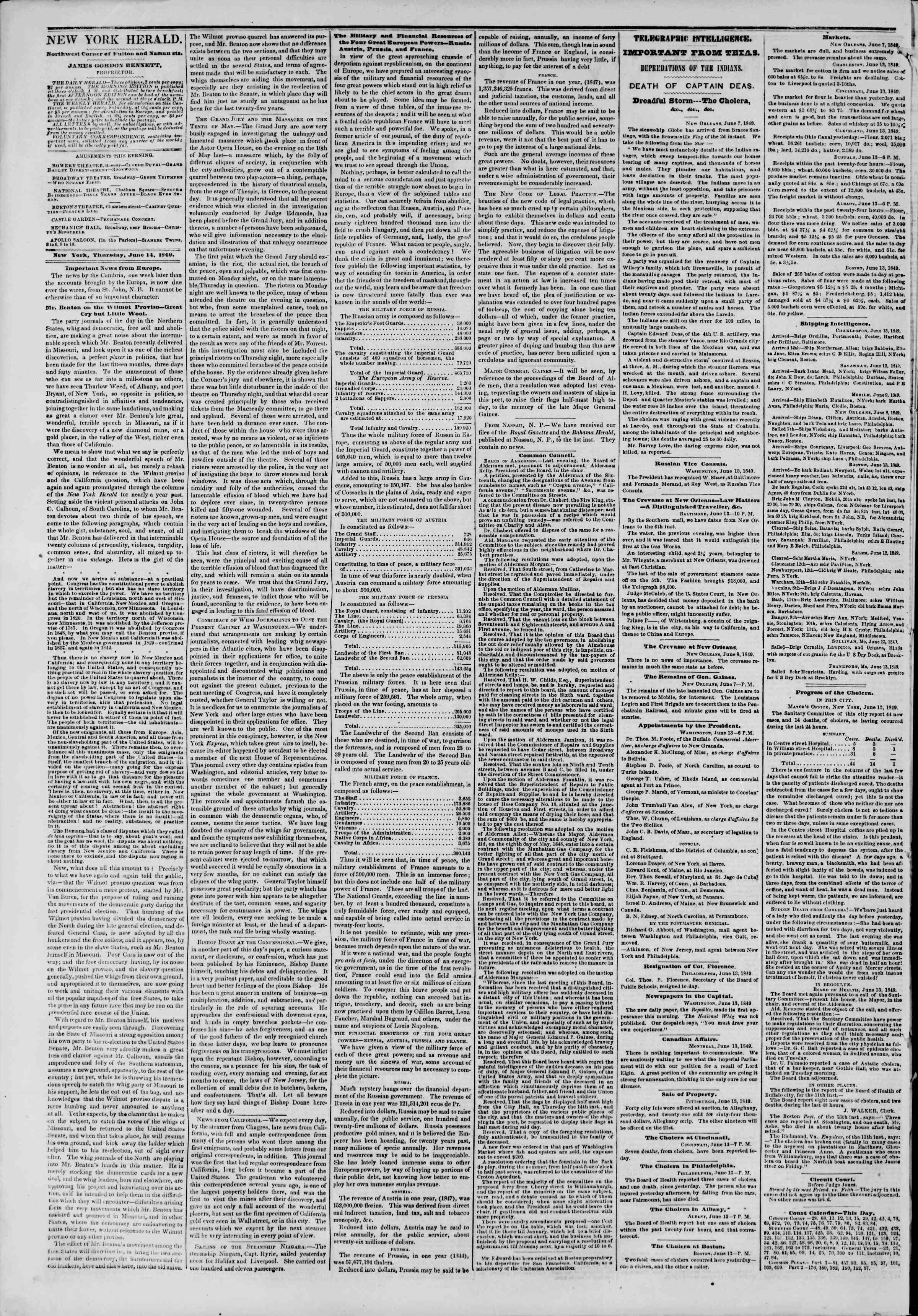Newspaper of The New York Herald dated June 14, 1849 Page 2