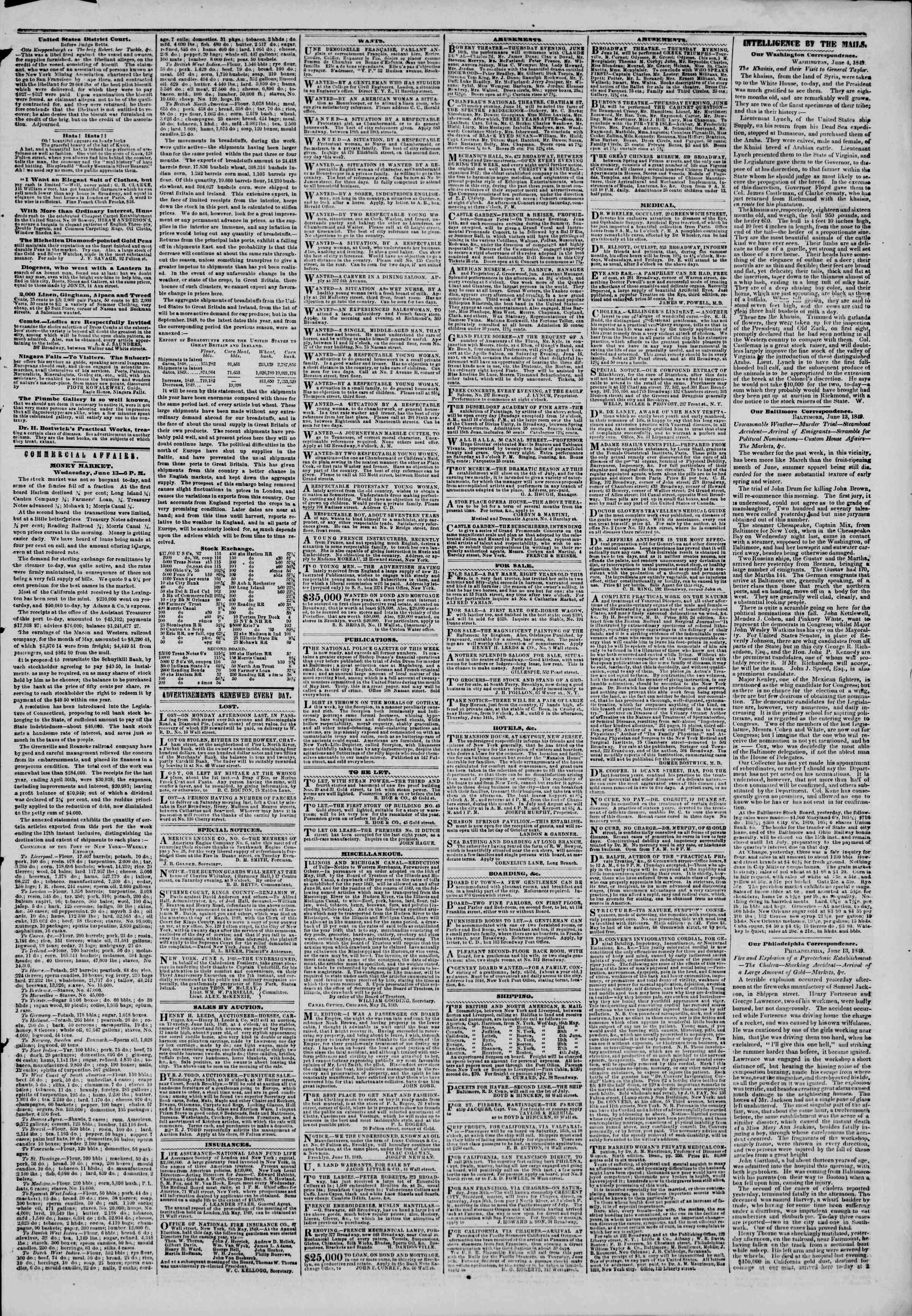 14 Haziran 1849 tarihli The New York Herald Gazetesi Sayfa 3
