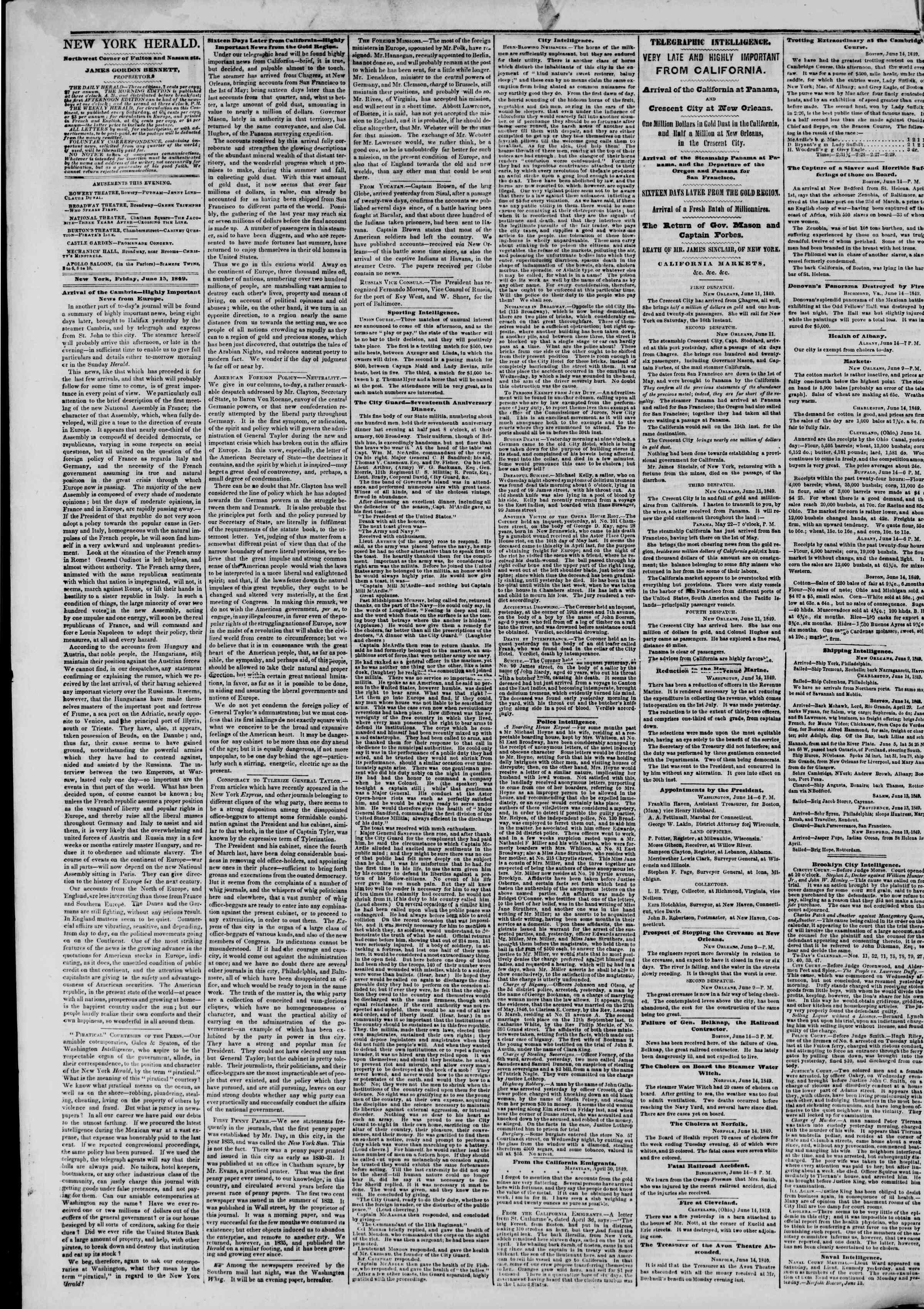Newspaper of The New York Herald dated June 15, 1849 Page 2