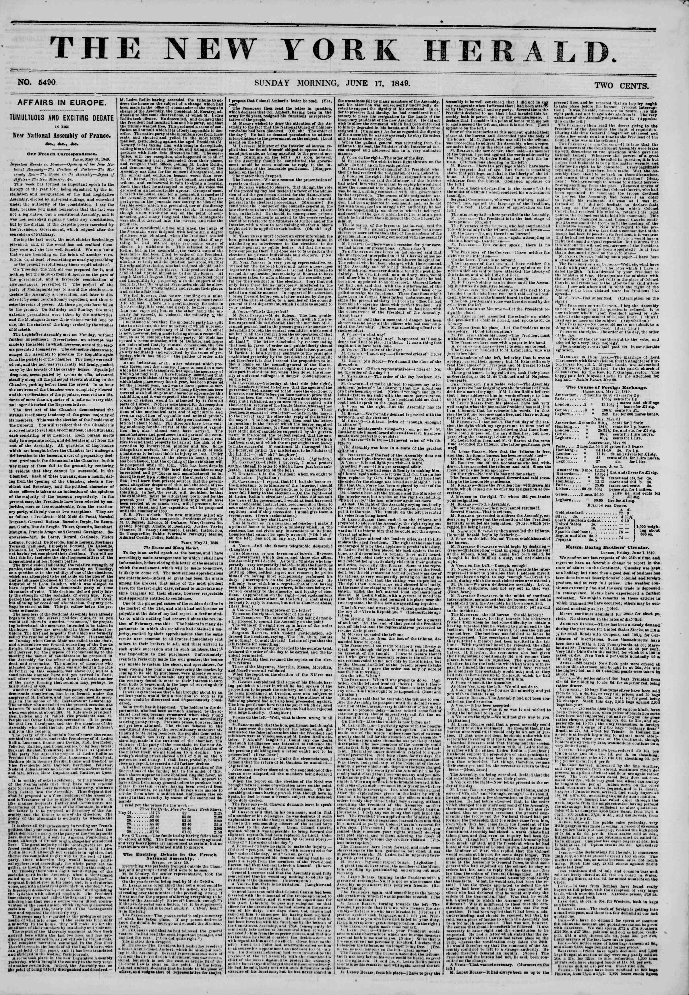 Newspaper of The New York Herald dated June 17, 1849 Page 1