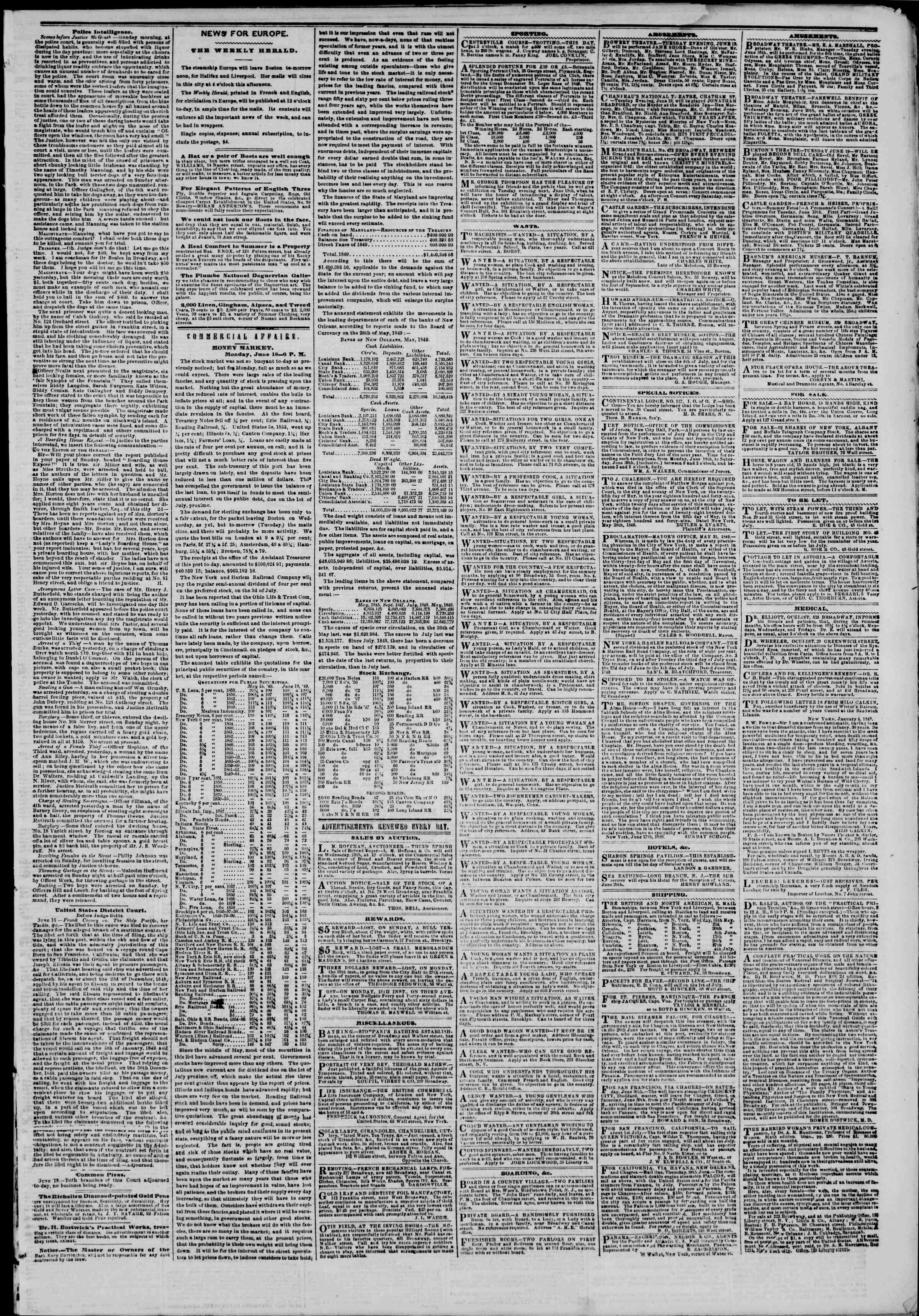 Newspaper of The New York Herald dated June 19, 1849 Page 5