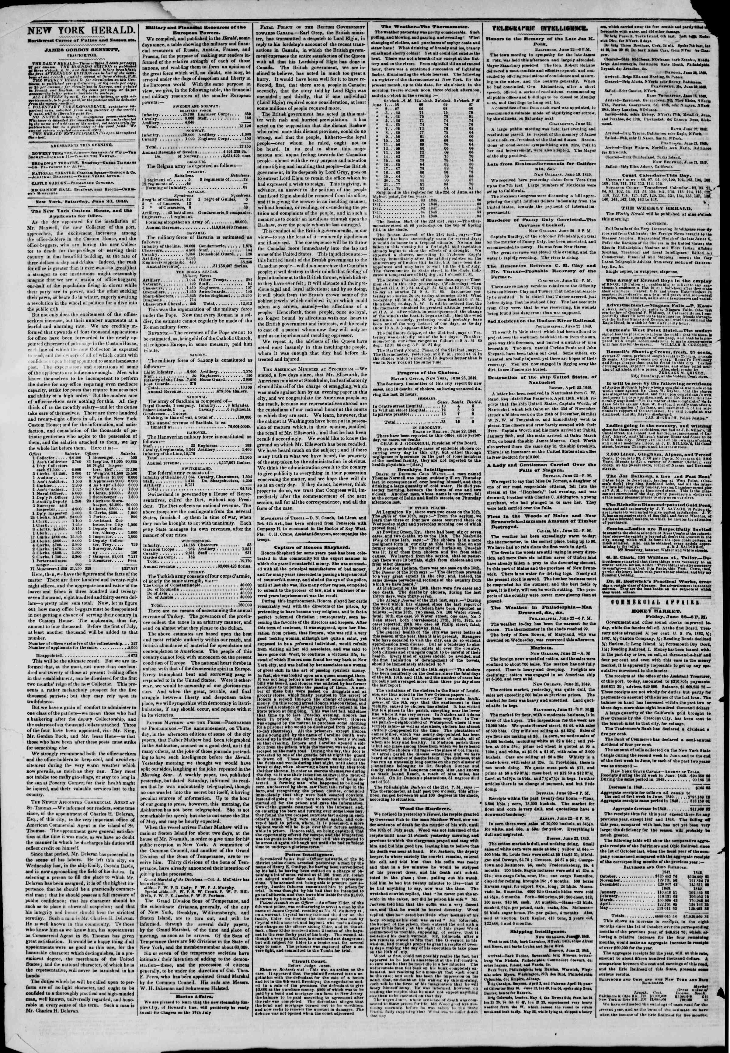 Newspaper of The New York Herald dated June 23, 1849 Page 2