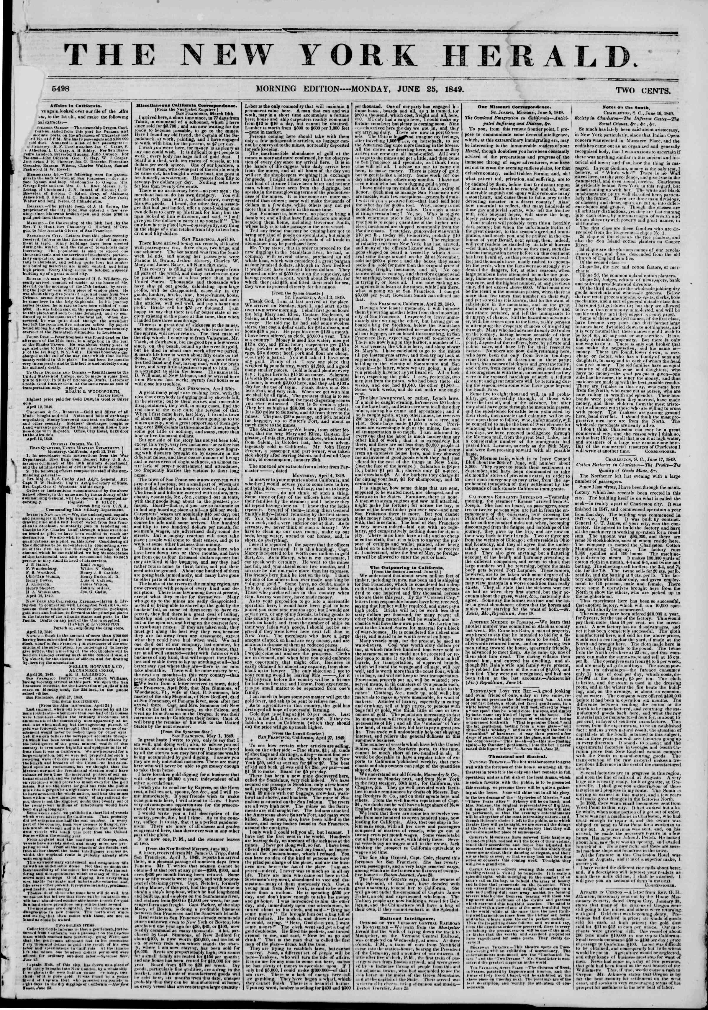 Newspaper of The New York Herald dated June 25, 1849 Page 1