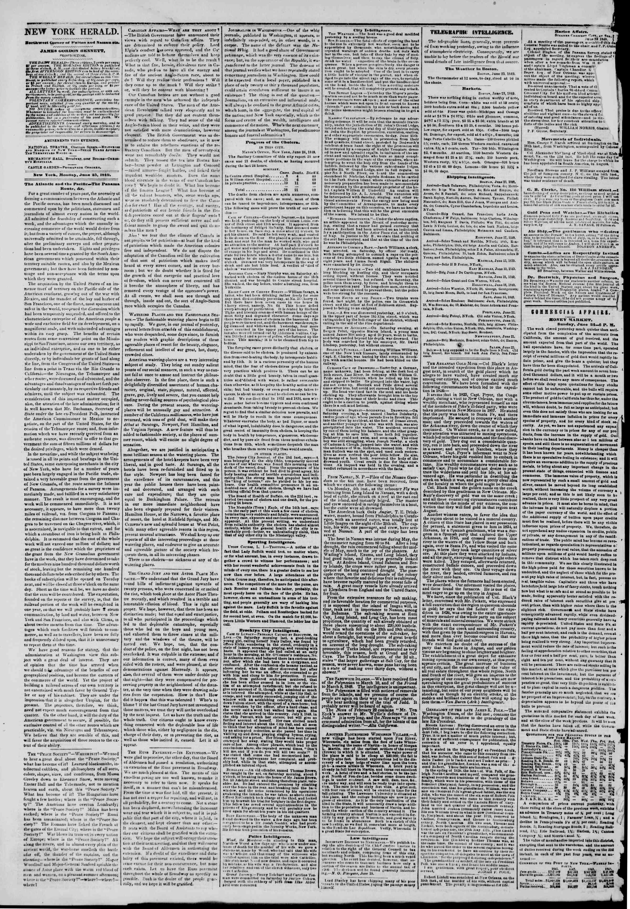 Newspaper of The New York Herald dated June 25, 1849 Page 2