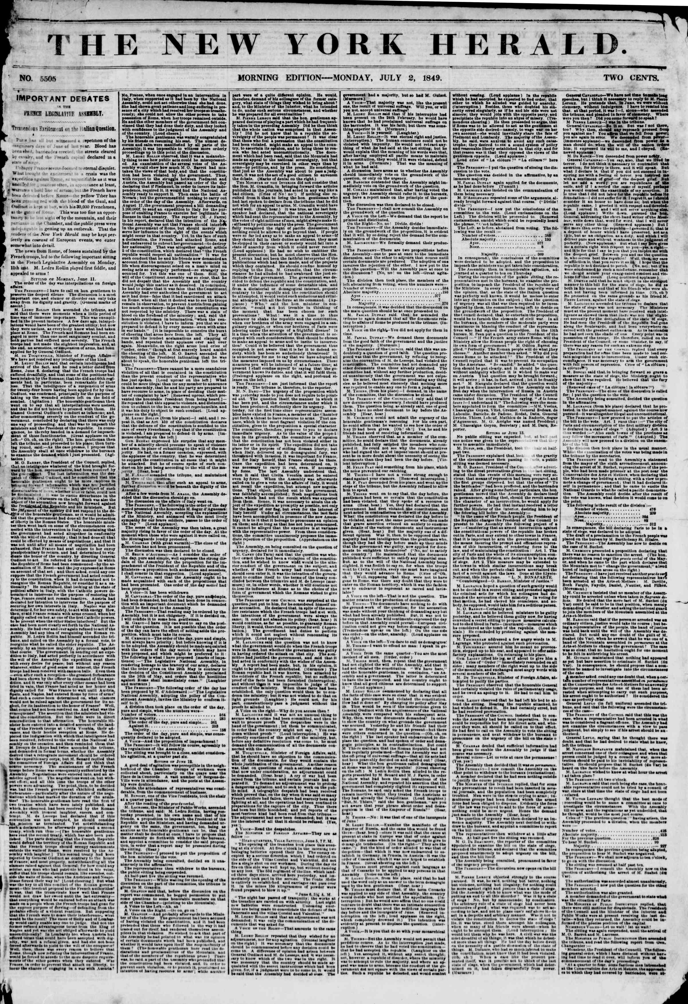 Newspaper of The New York Herald dated July 2, 1849 Page 1