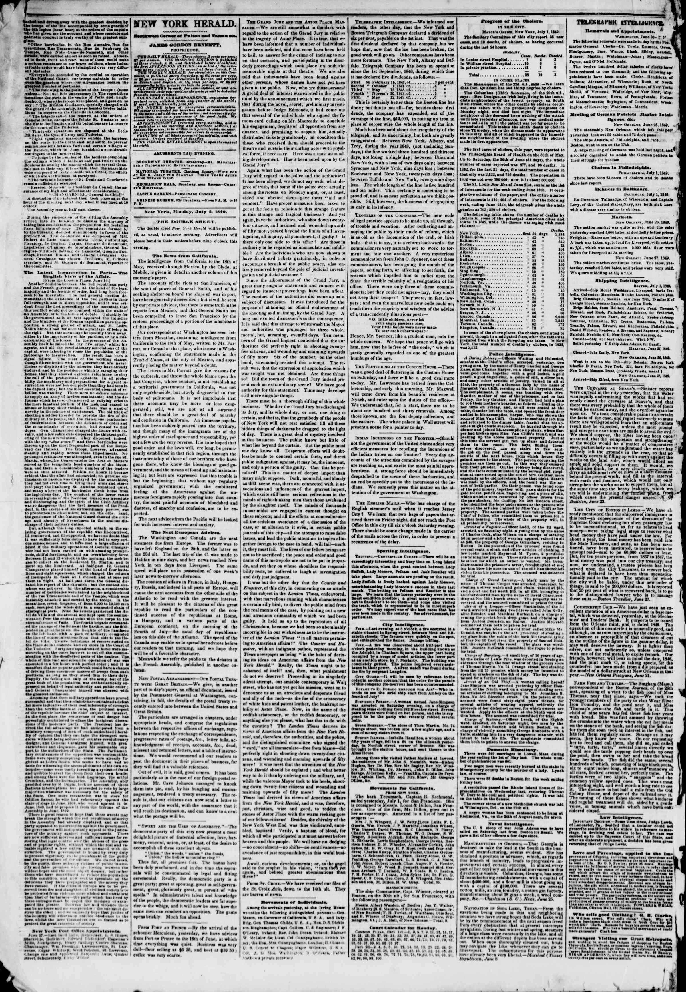 Newspaper of The New York Herald dated July 2, 1849 Page 2