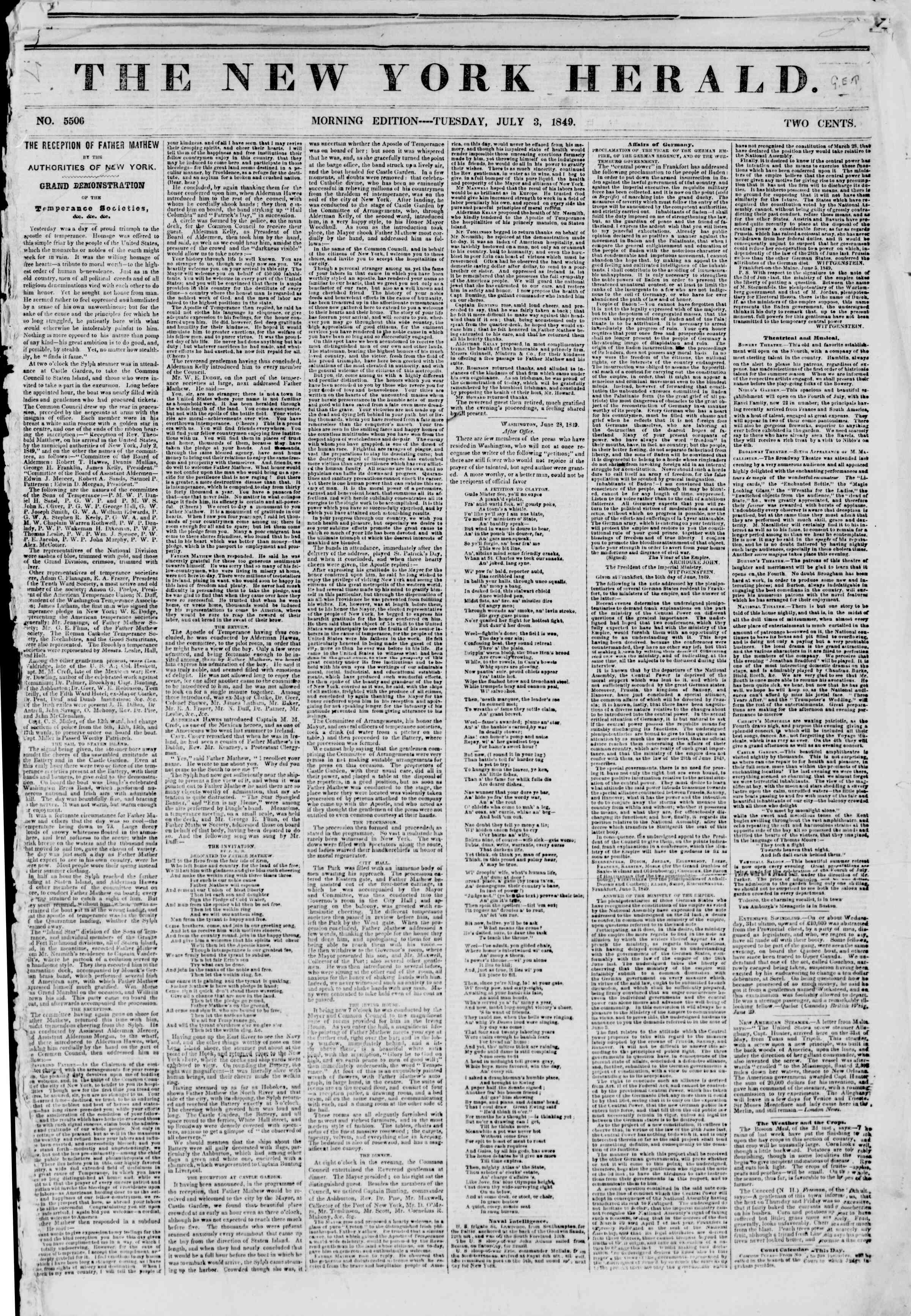 Newspaper of The New York Herald dated July 3, 1849 Page 1