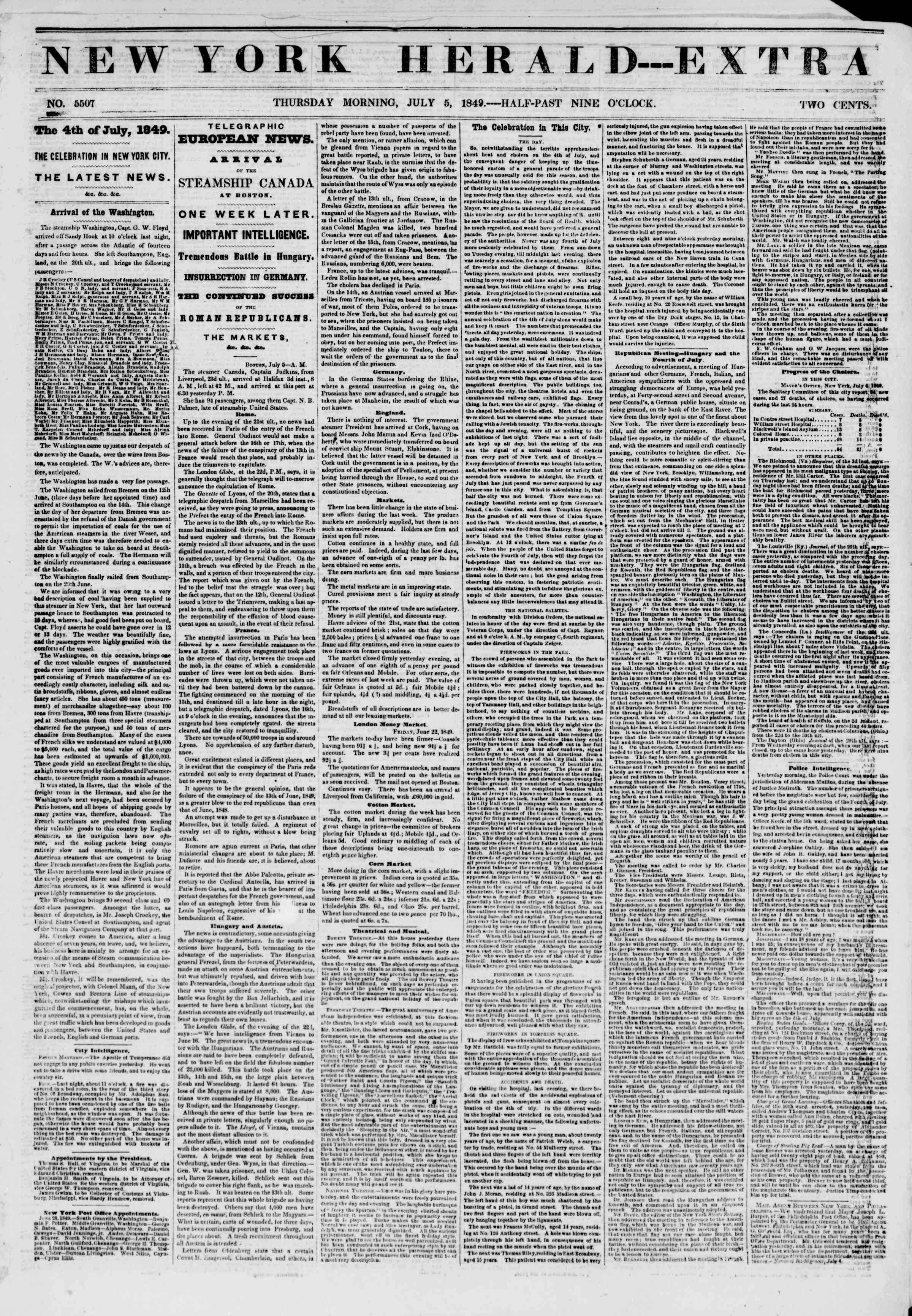 Newspaper of The New York Herald dated July 5, 1849 Page 1