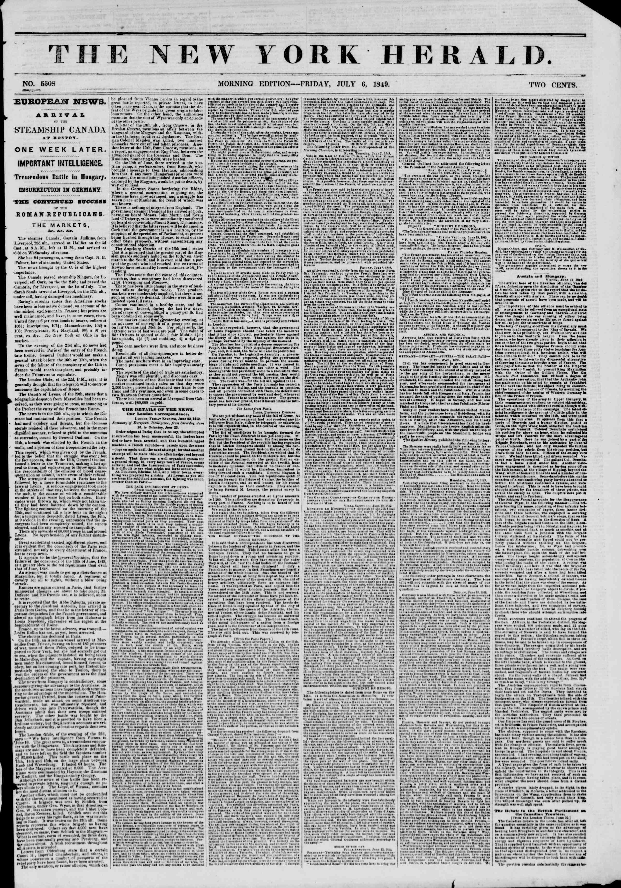 Newspaper of The New York Herald dated July 6, 1849 Page 1