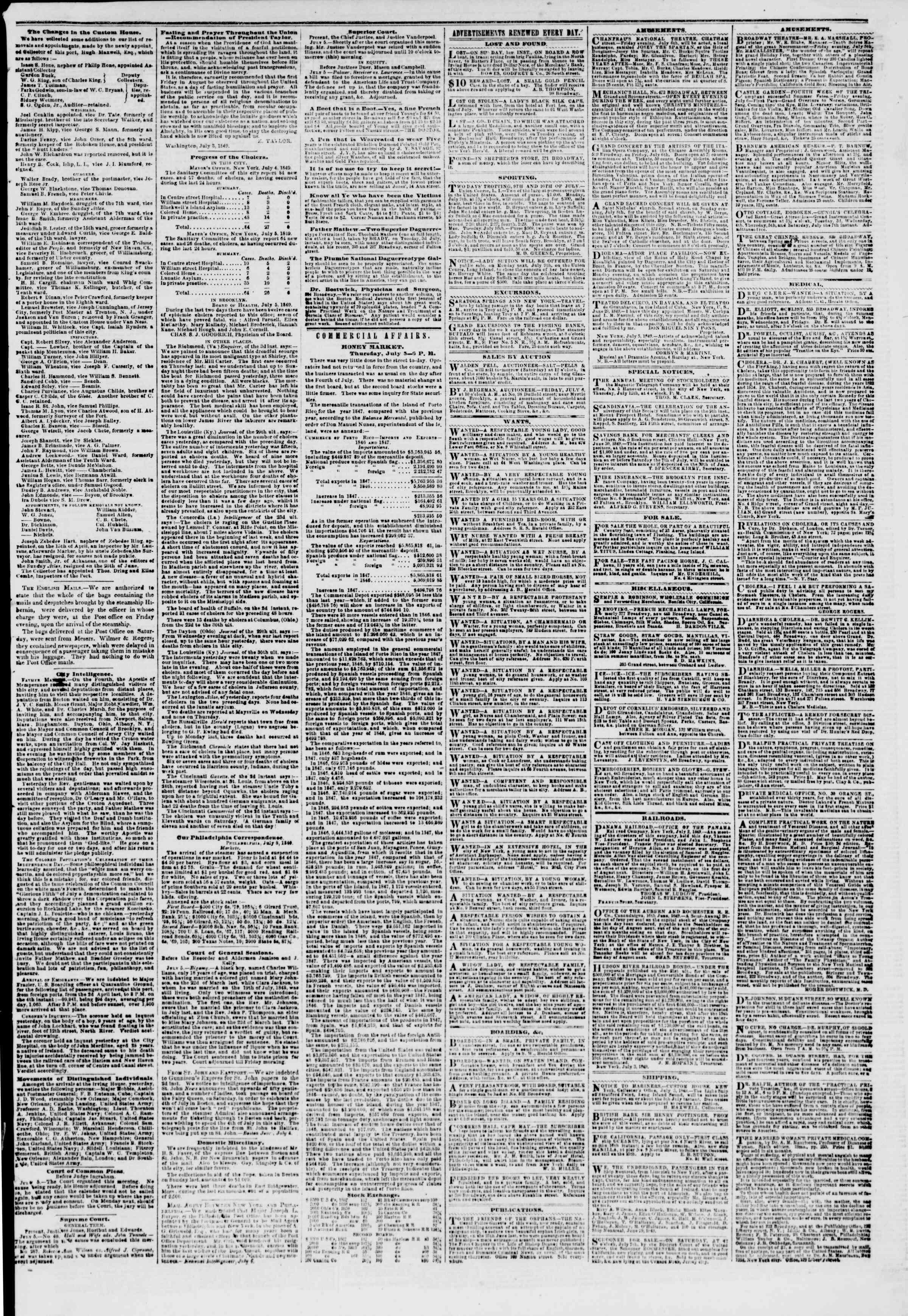 6 Temmuz 1849 tarihli The New York Herald Gazetesi Sayfa 3