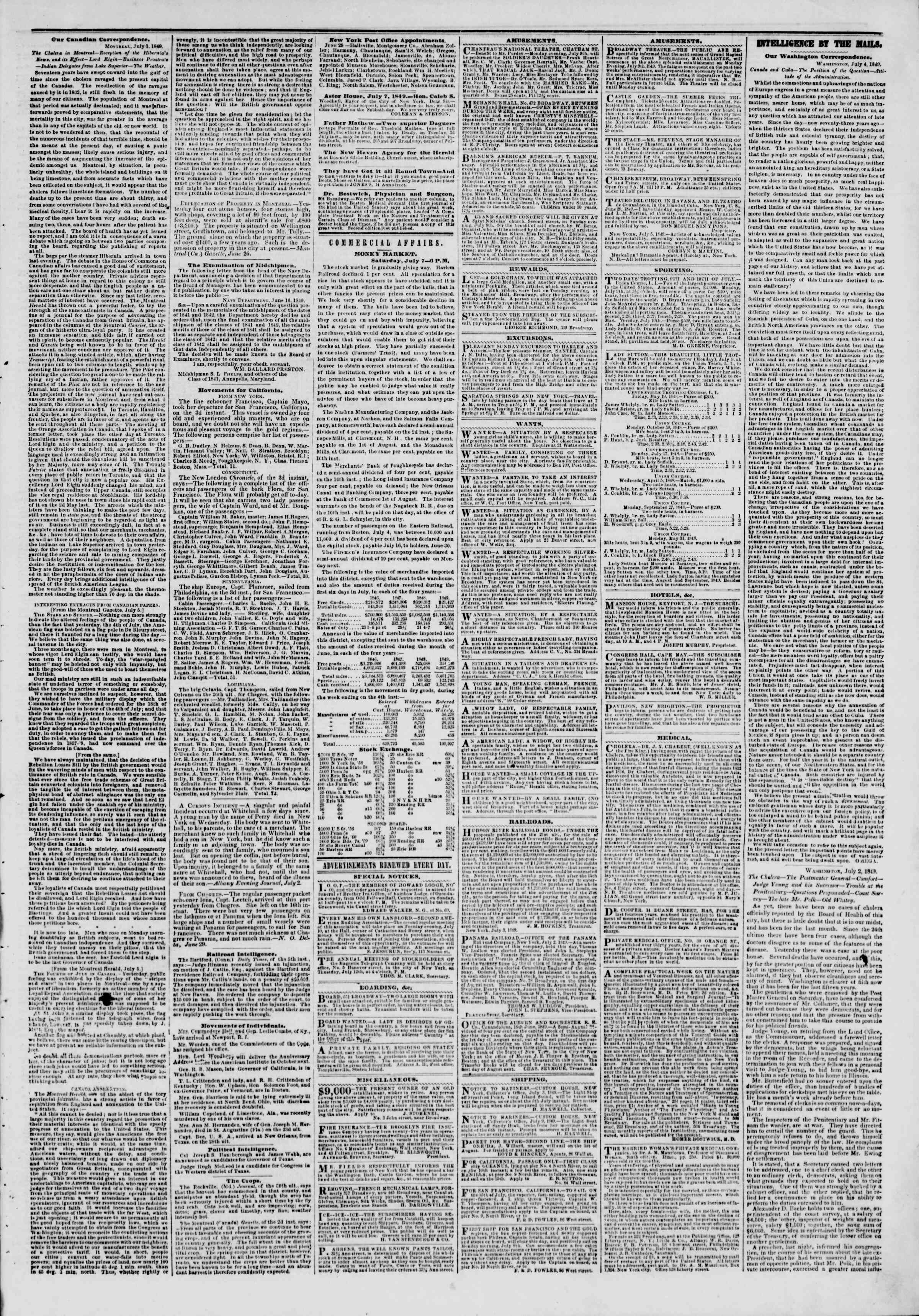 Newspaper of The New York Herald dated 8 Temmuz 1849 Page 3