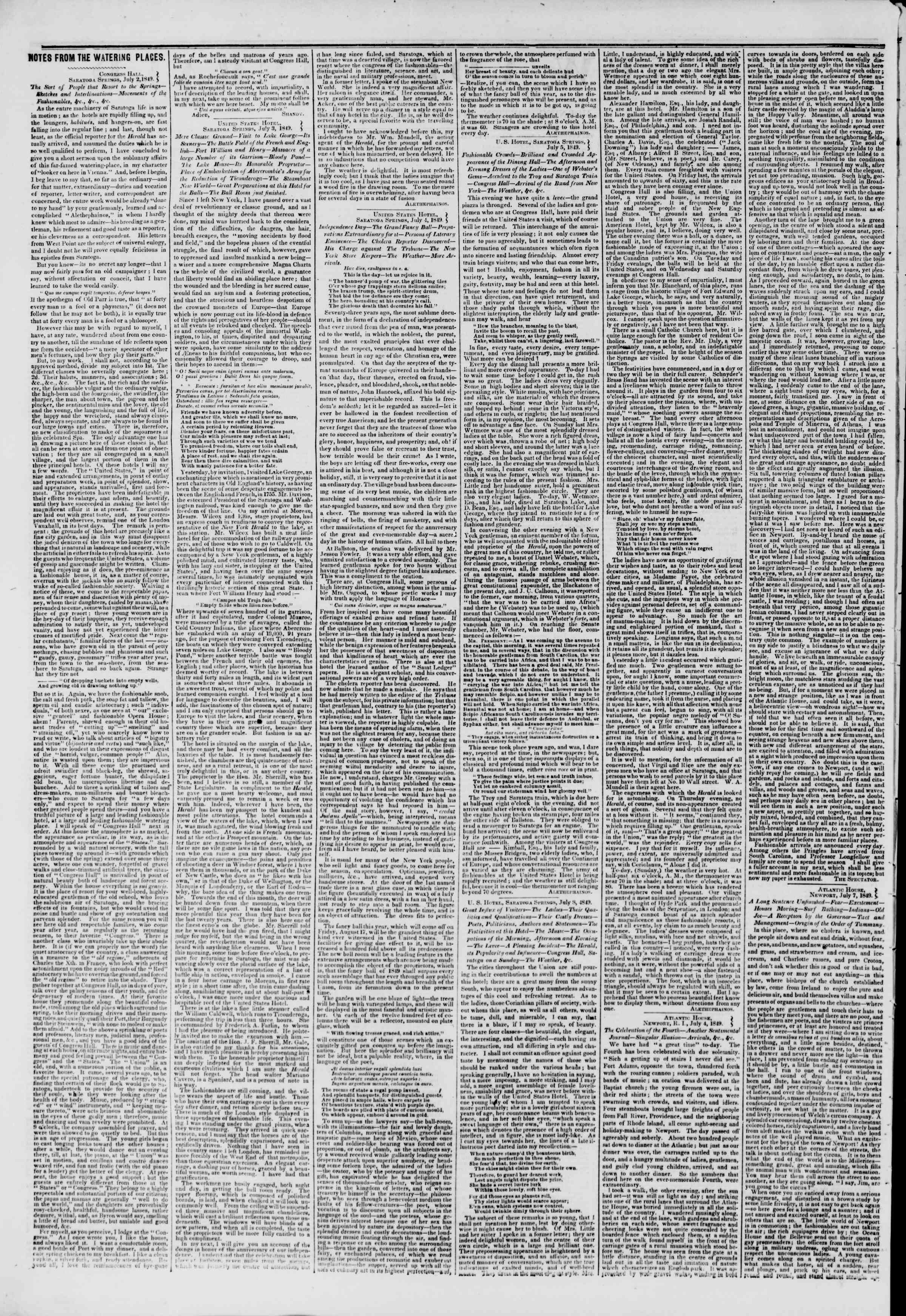 Newspaper of The New York Herald dated July 10, 1849 Page 2