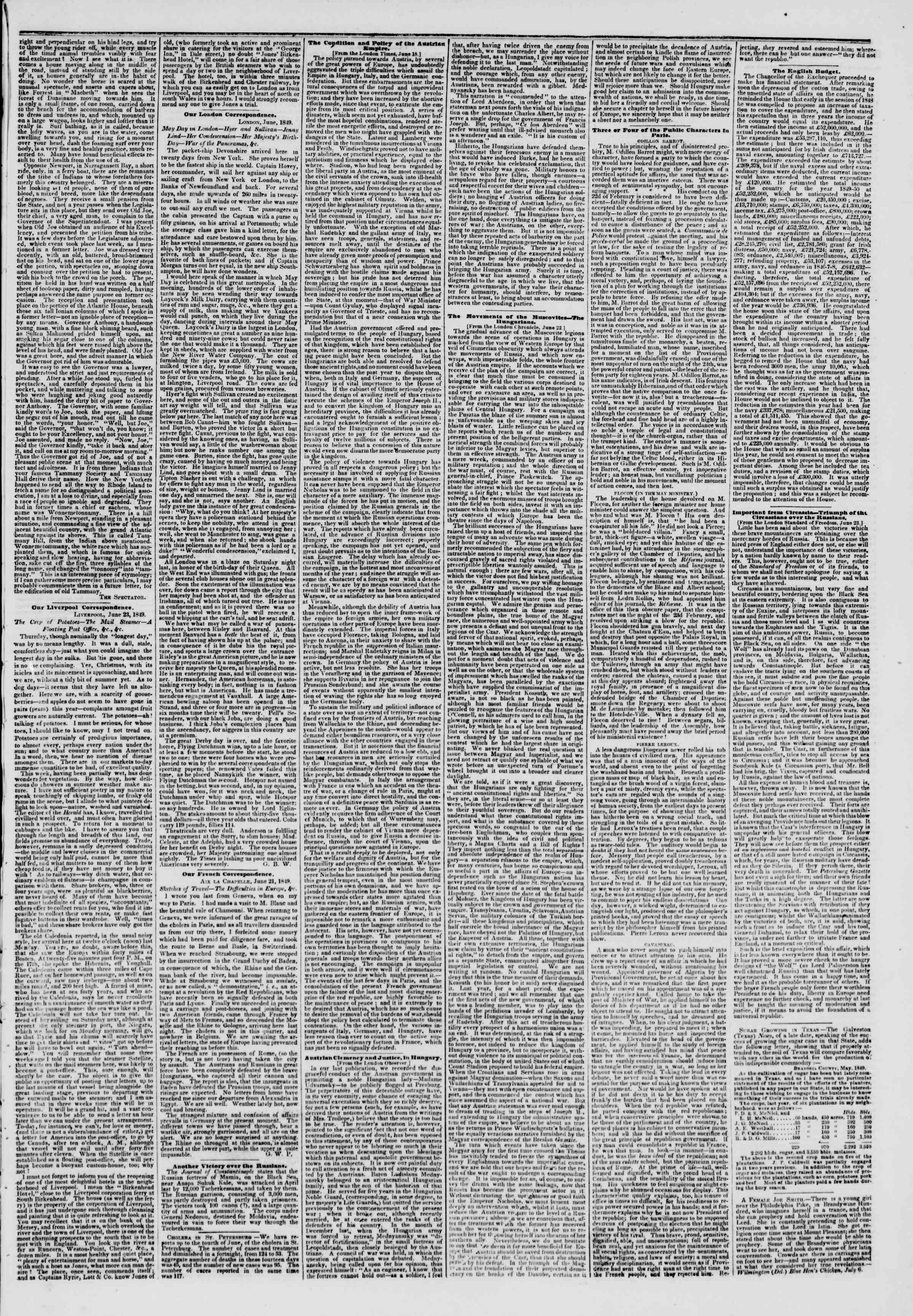 Newspaper of The New York Herald dated July 10, 1849 Page 3