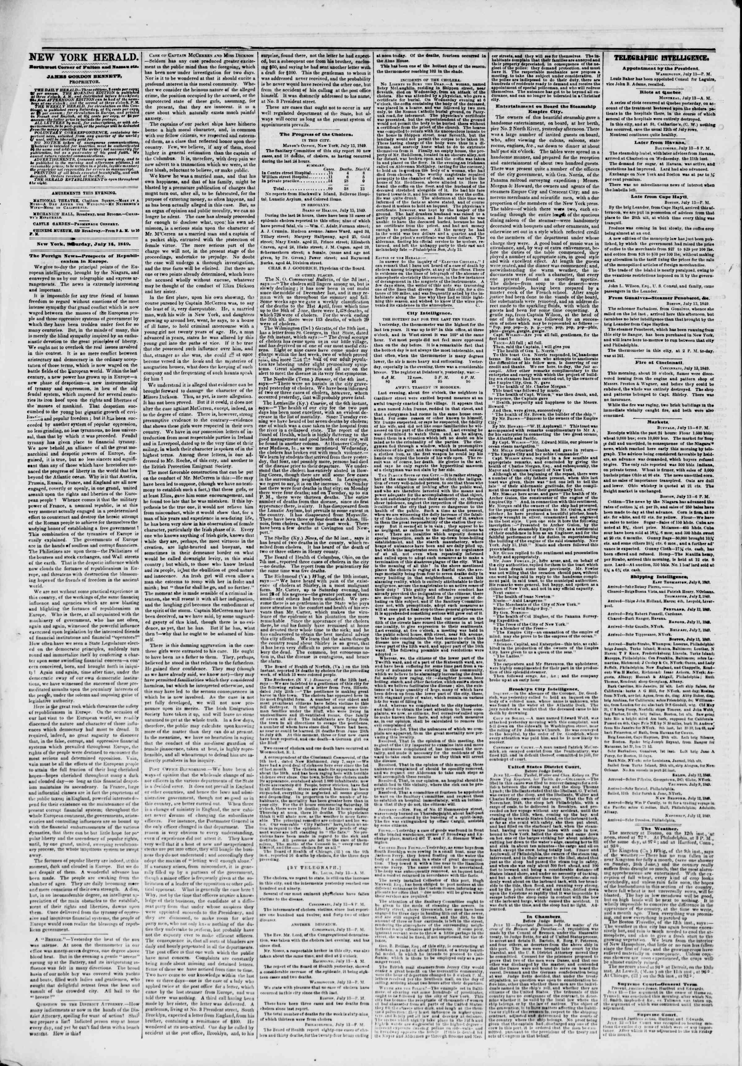 Newspaper of The New York Herald dated July 14, 1849 Page 2