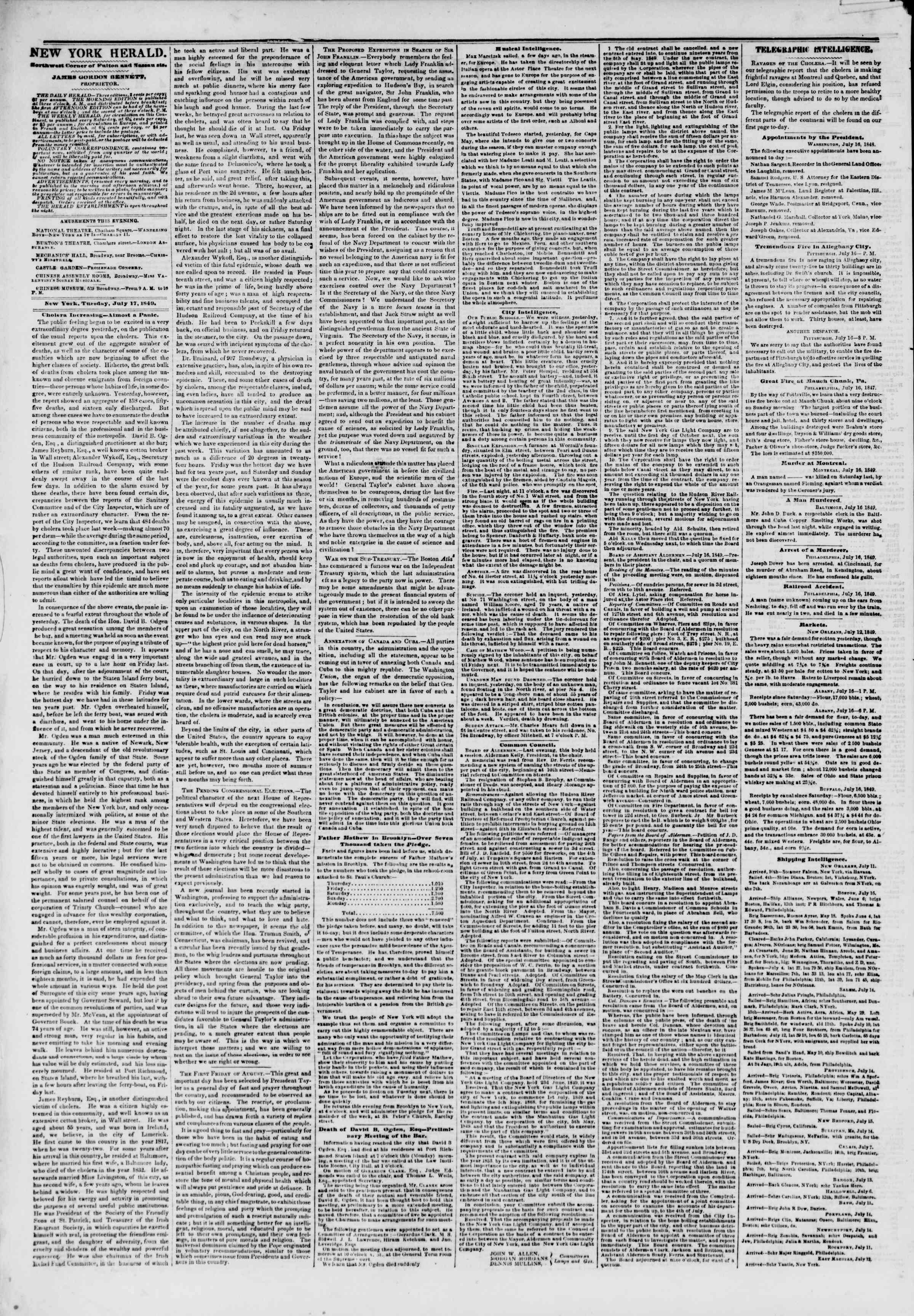 Newspaper of The New York Herald dated July 17, 1849 Page 2
