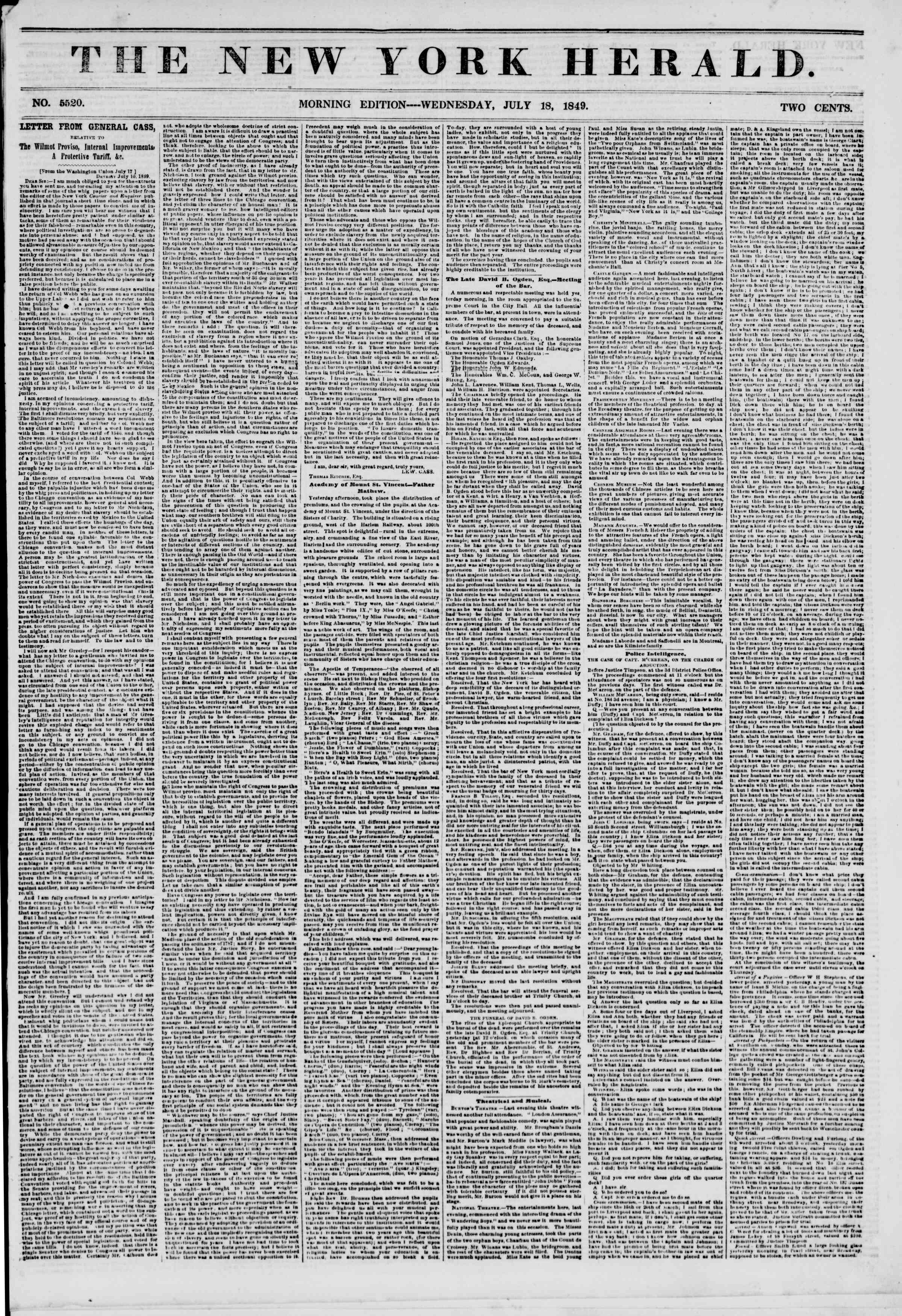 Newspaper of The New York Herald dated July 18, 1849 Page 1