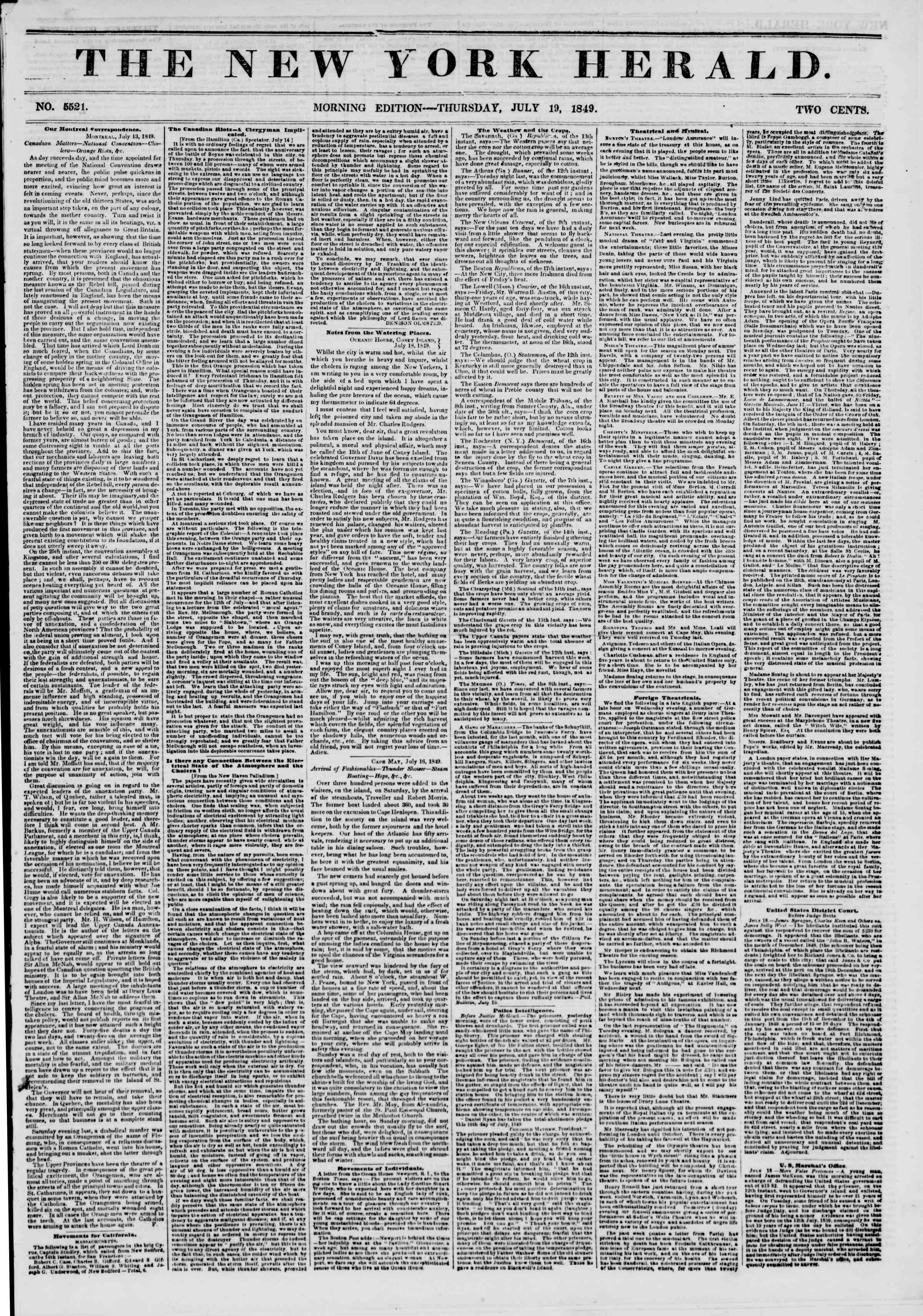 Newspaper of The New York Herald dated July 19, 1849 Page 1
