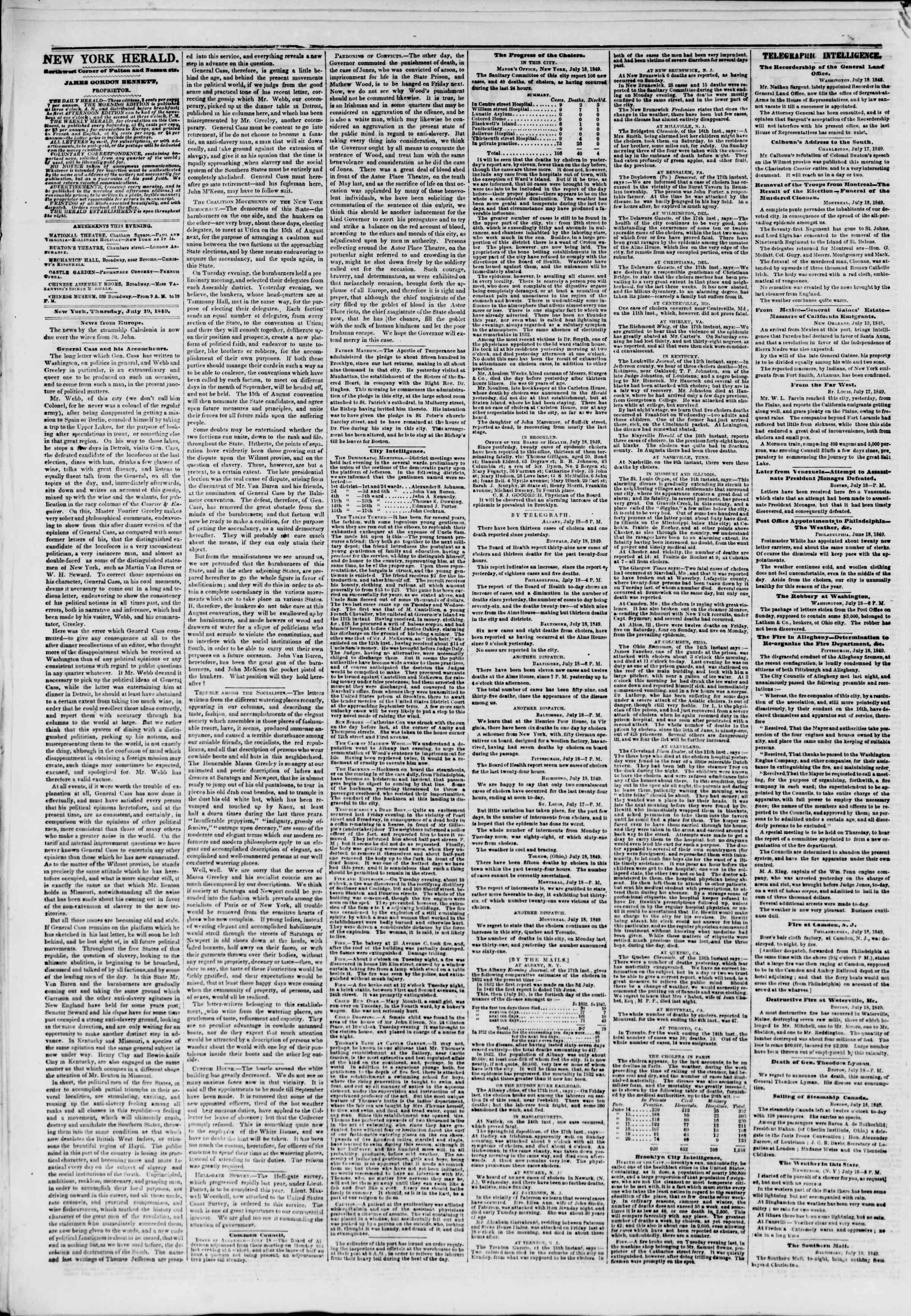 Newspaper of The New York Herald dated July 19, 1849 Page 2