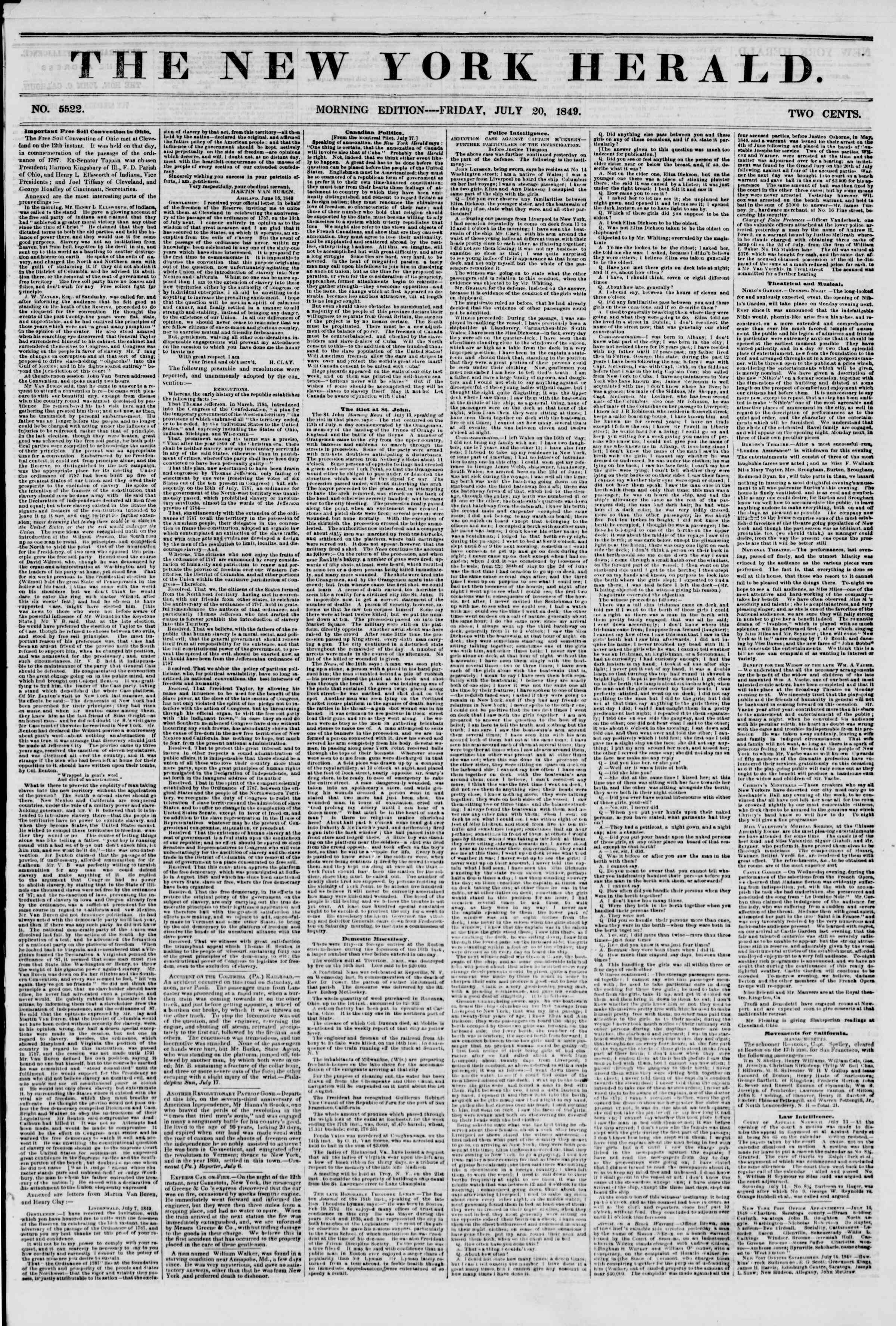 Newspaper of The New York Herald dated July 20, 1849 Page 1