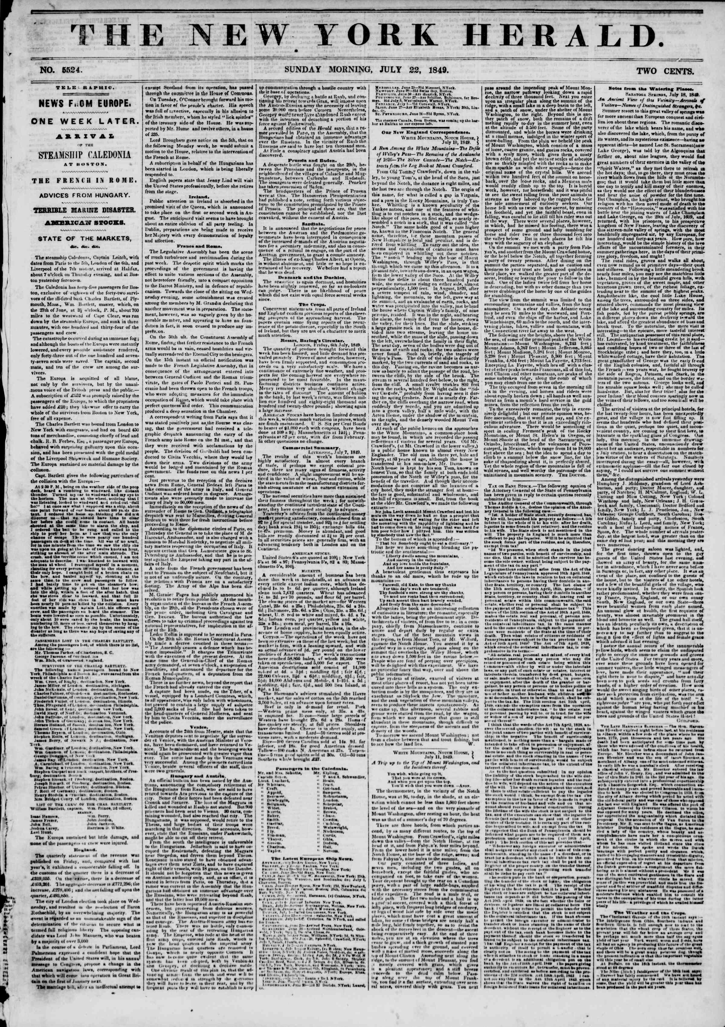 Newspaper of The New York Herald dated July 22, 1849 Page 1