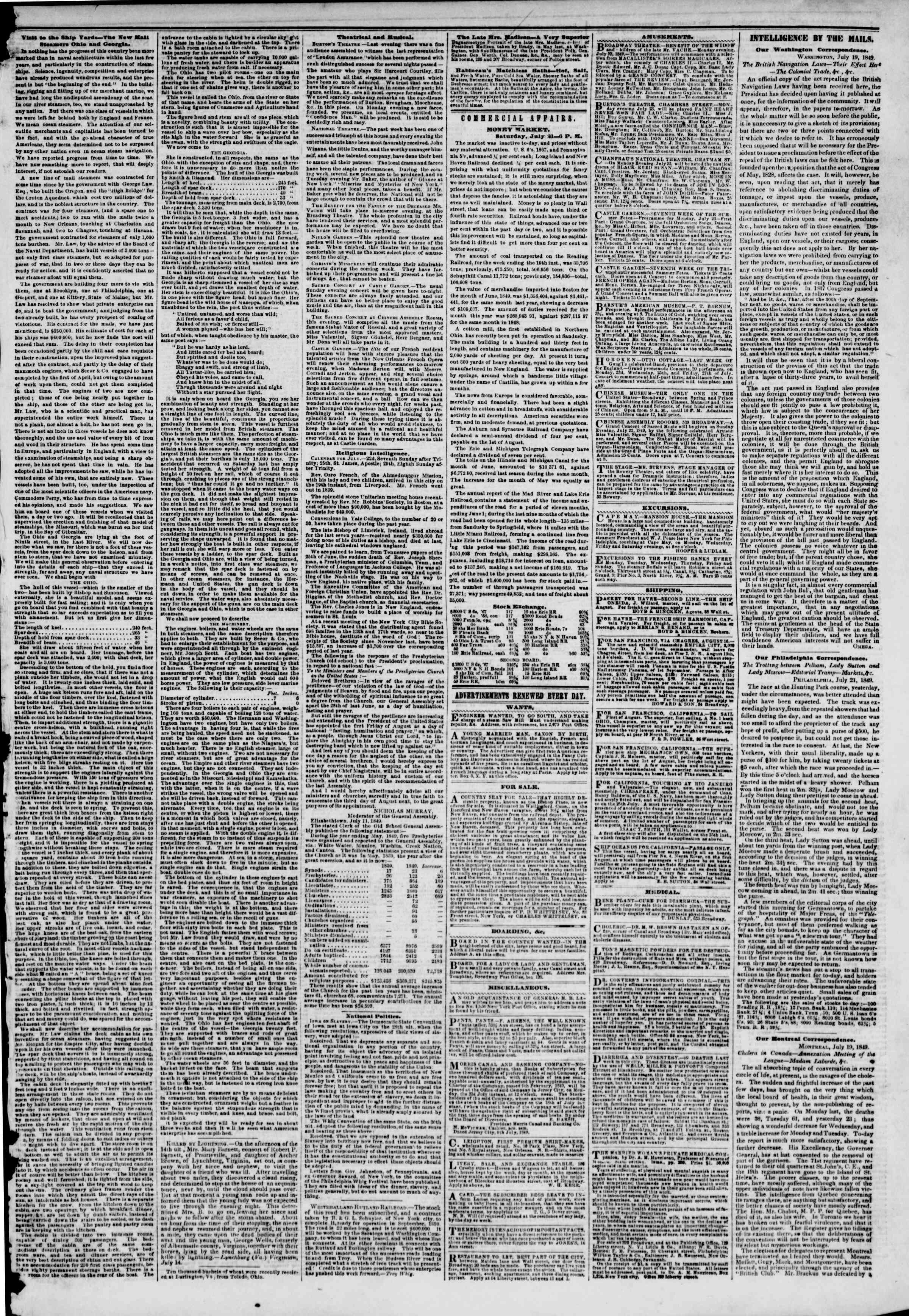 Newspaper of The New York Herald dated July 22, 1849 Page 3