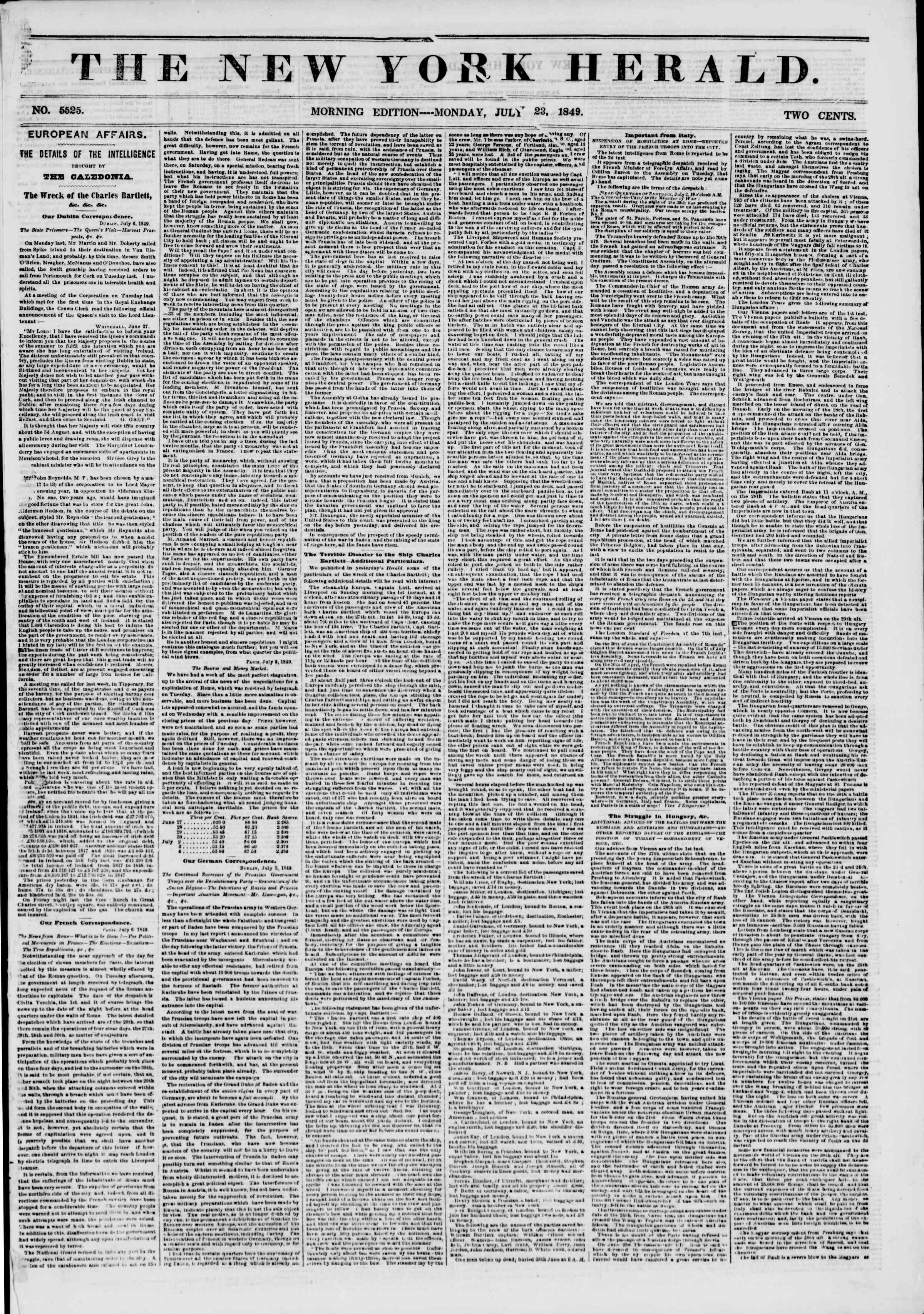 Newspaper of The New York Herald dated July 23, 1849 Page 1
