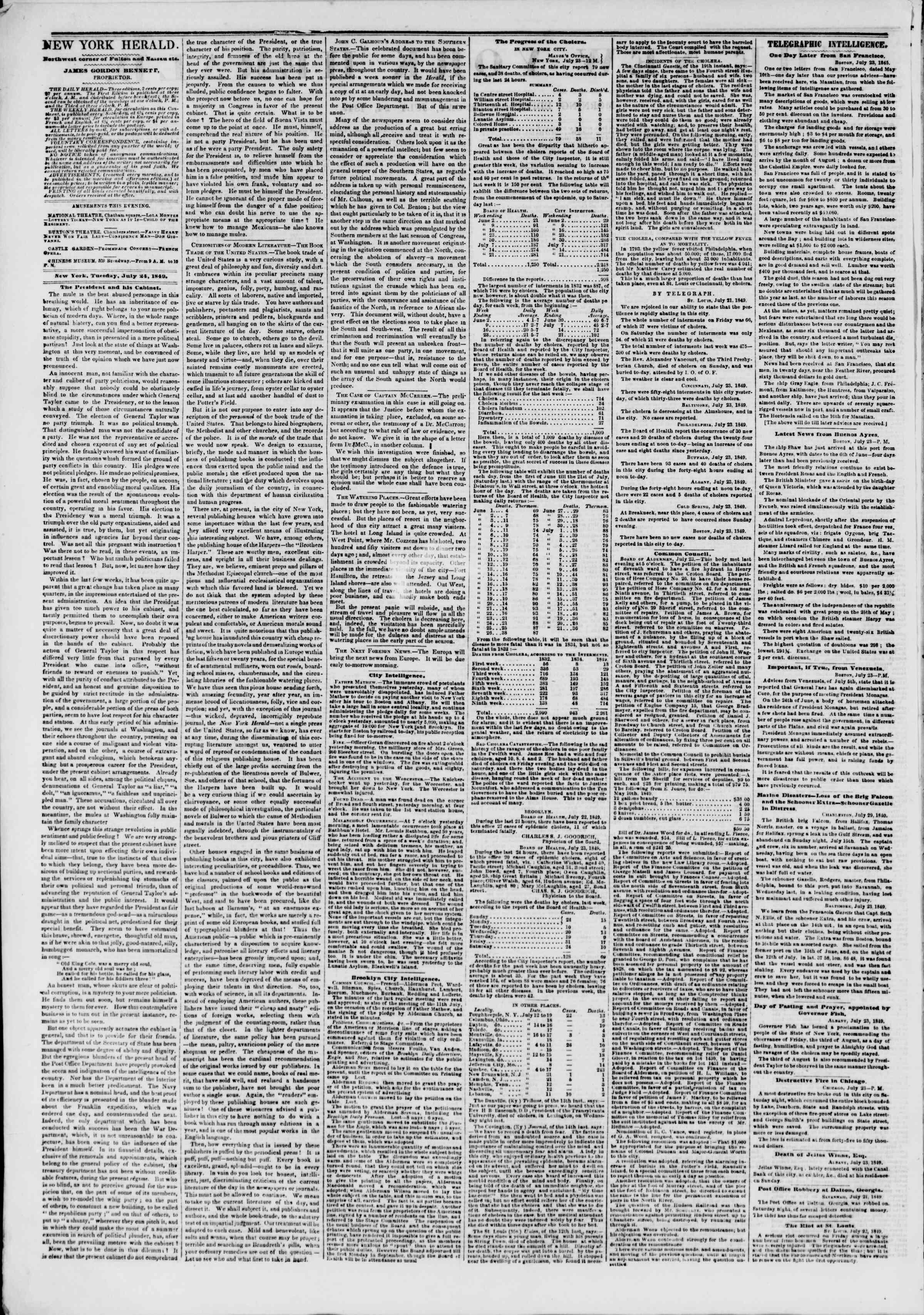 Newspaper of The New York Herald dated July 24, 1849 Page 2