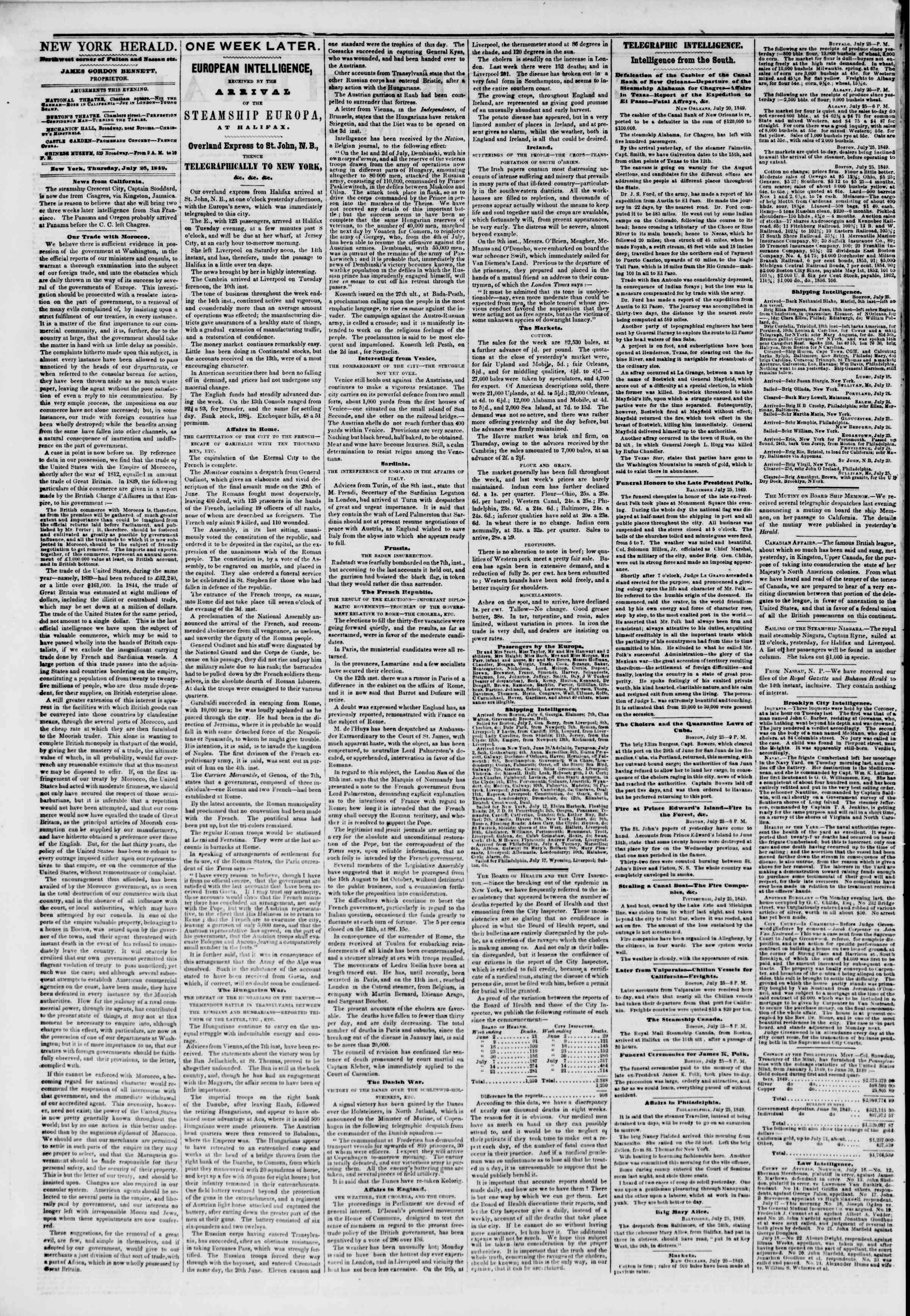 Newspaper of The New York Herald dated July 26, 1849 Page 2