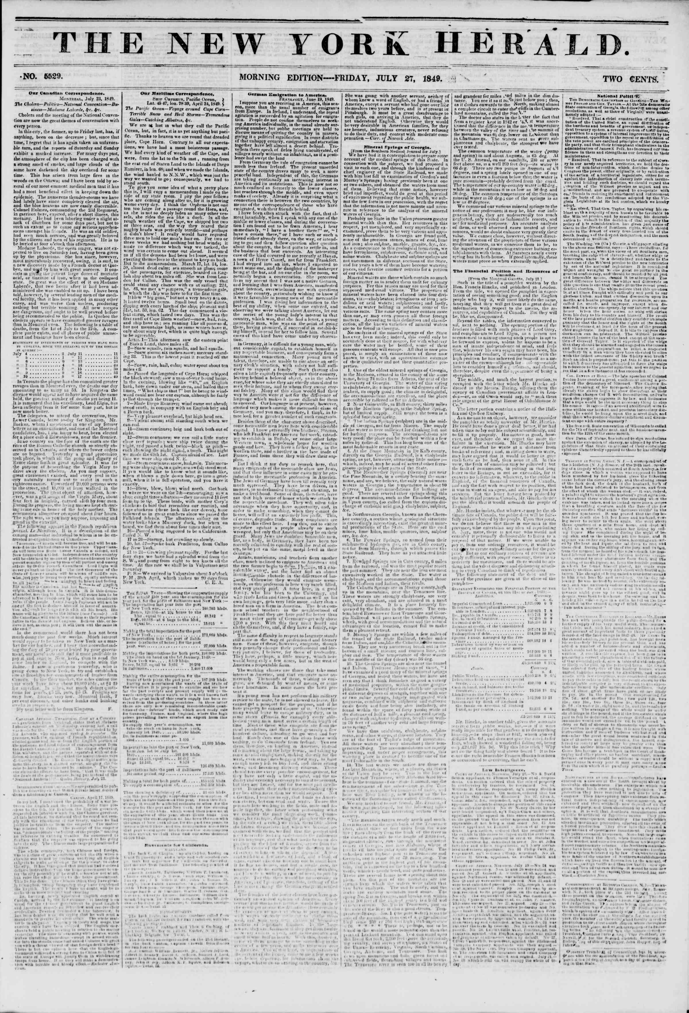 Newspaper of The New York Herald dated July 27, 1849 Page 1