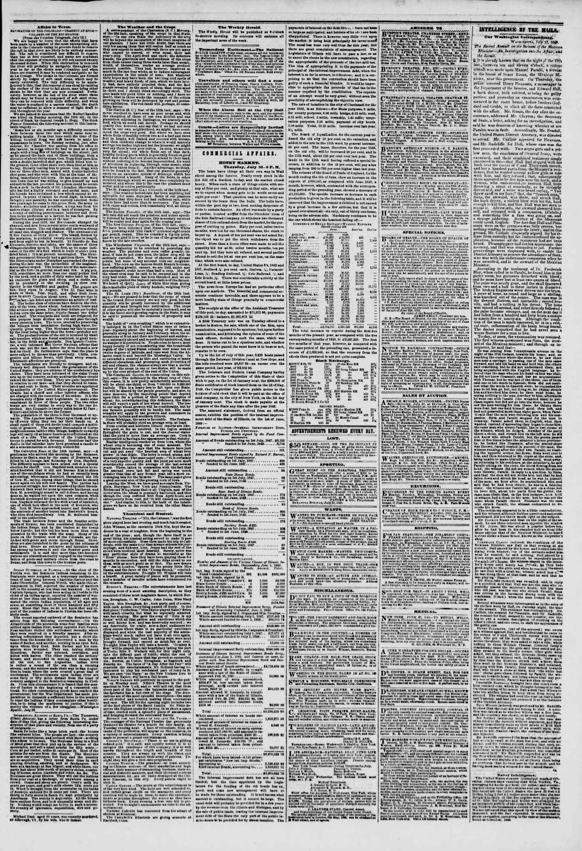 Newspaper of The New York Herald dated July 27, 1849 Page 3