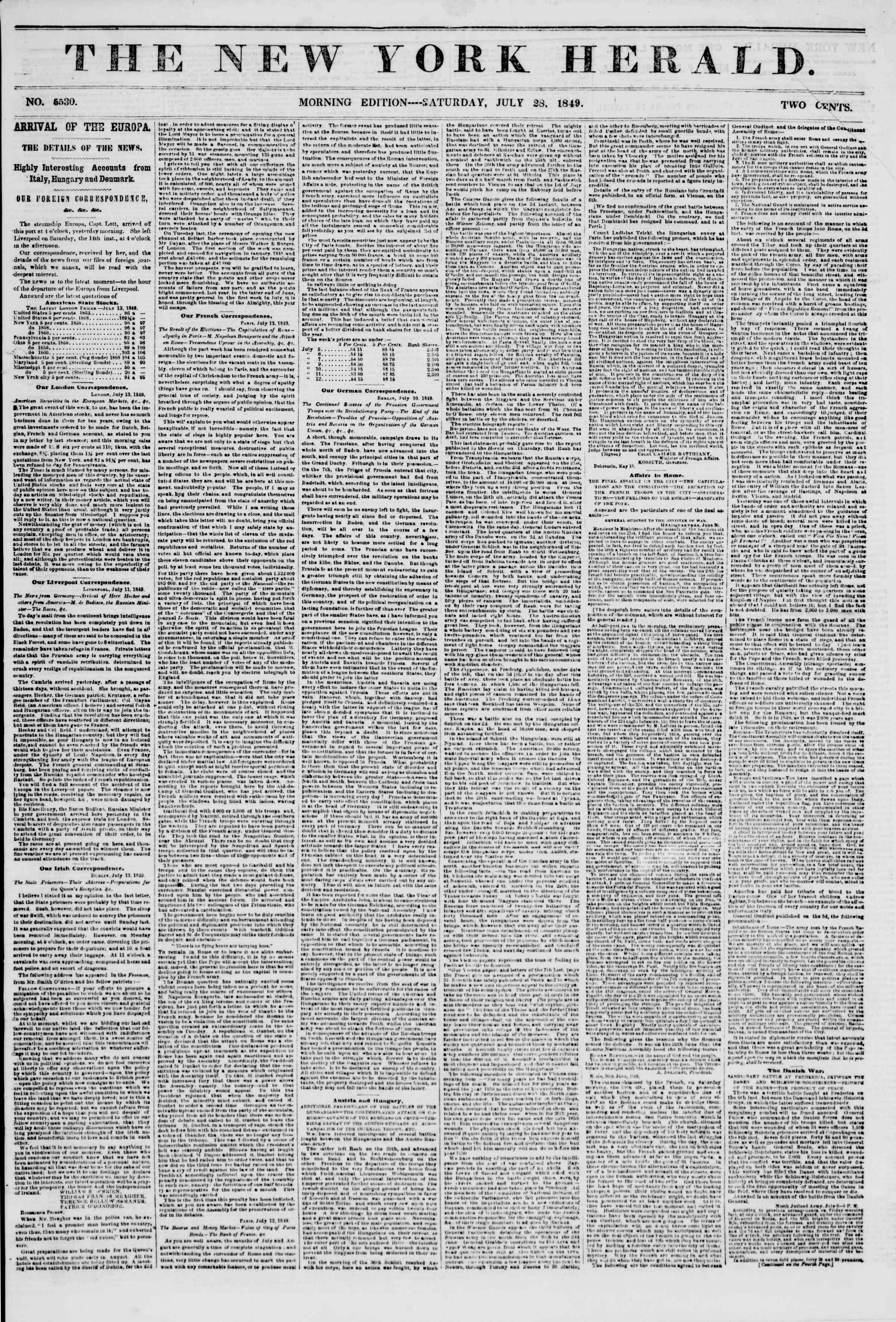 Newspaper of The New York Herald dated July 28, 1849 Page 1